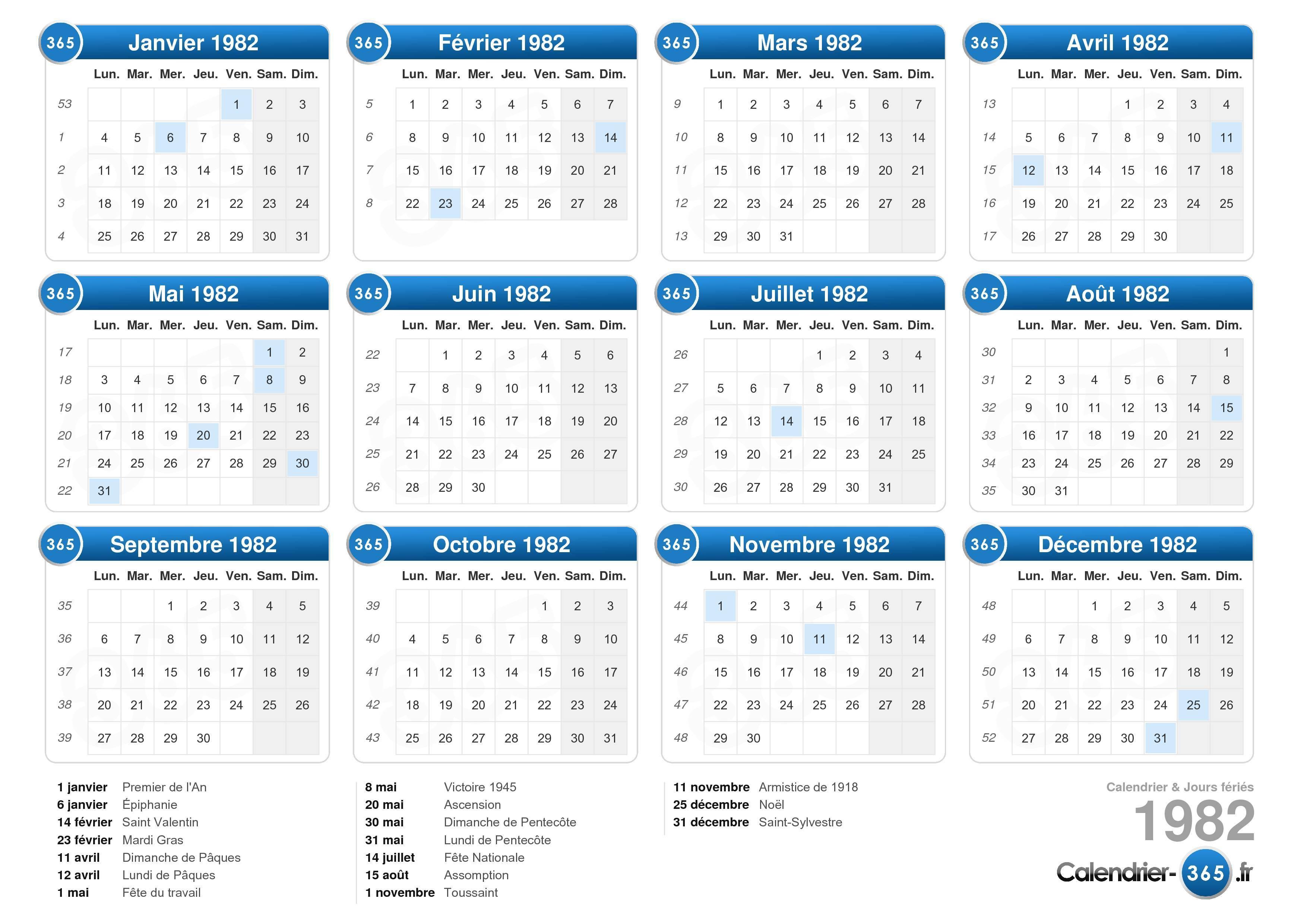 calendrier annee 1982