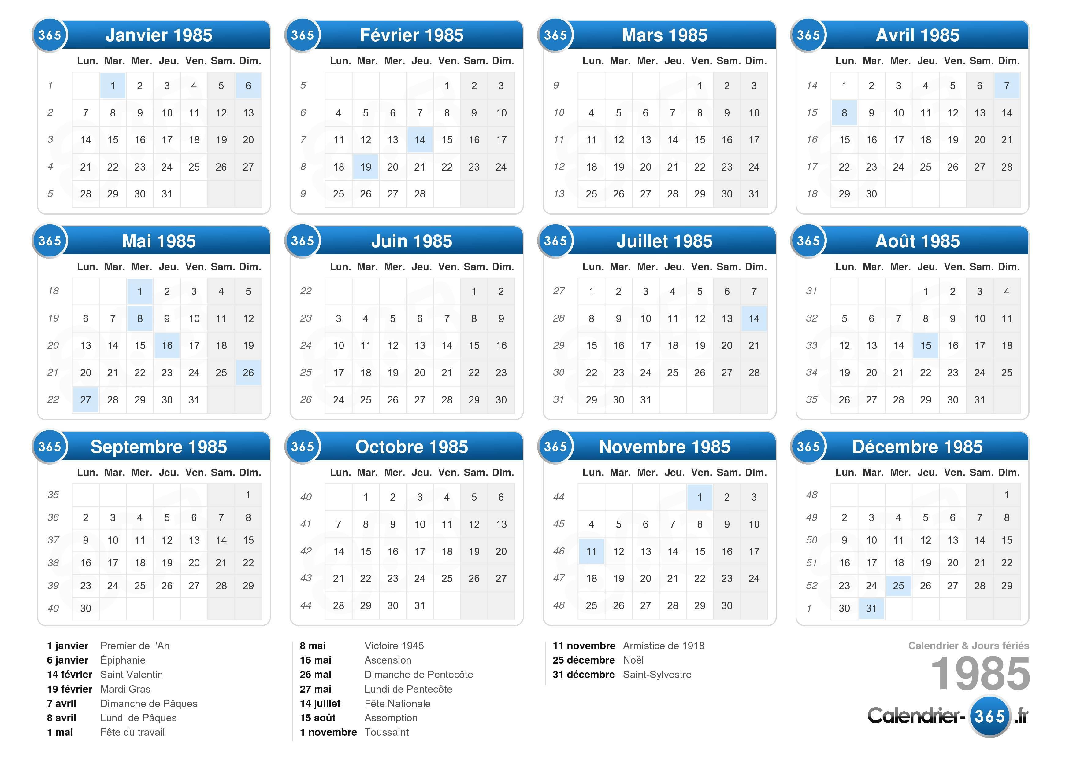 Télécharger le Calendrier 1985 avec jours fériés . (Format paysage
