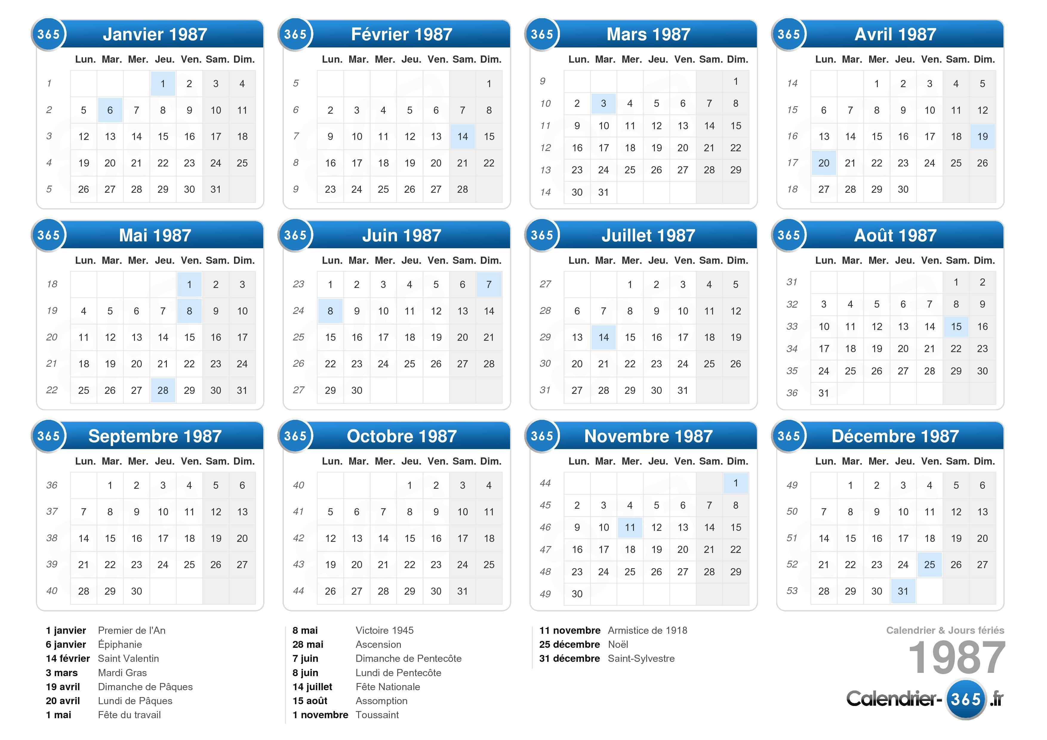 calendrier lunaire 1987