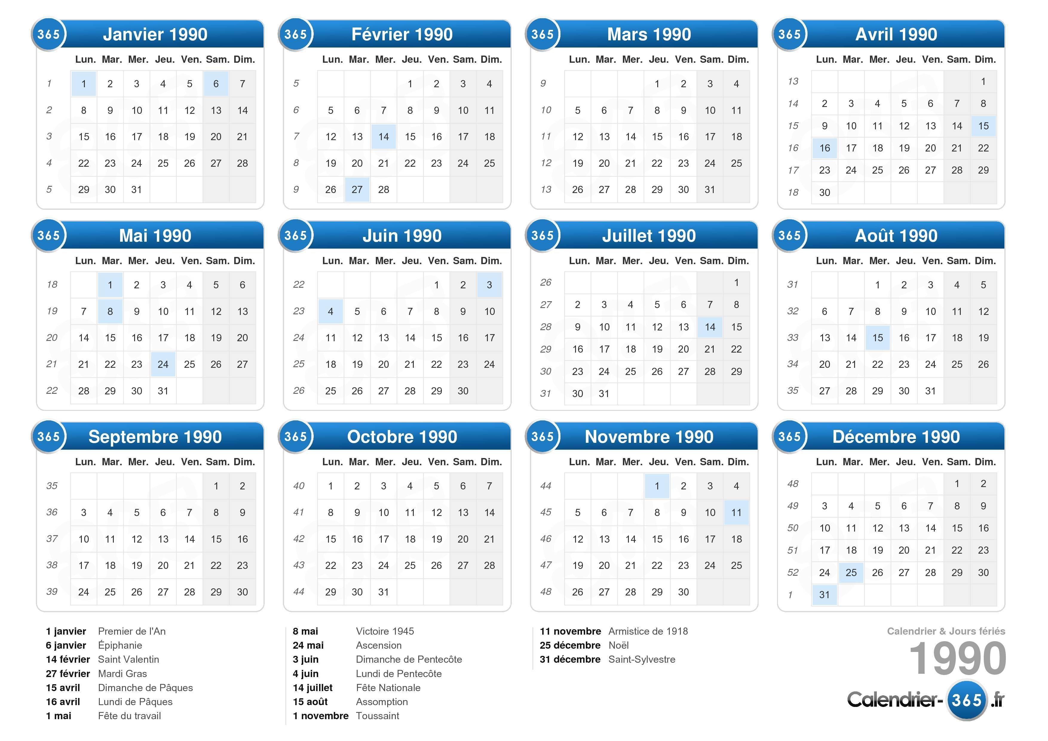 calendrier lunaire 1990