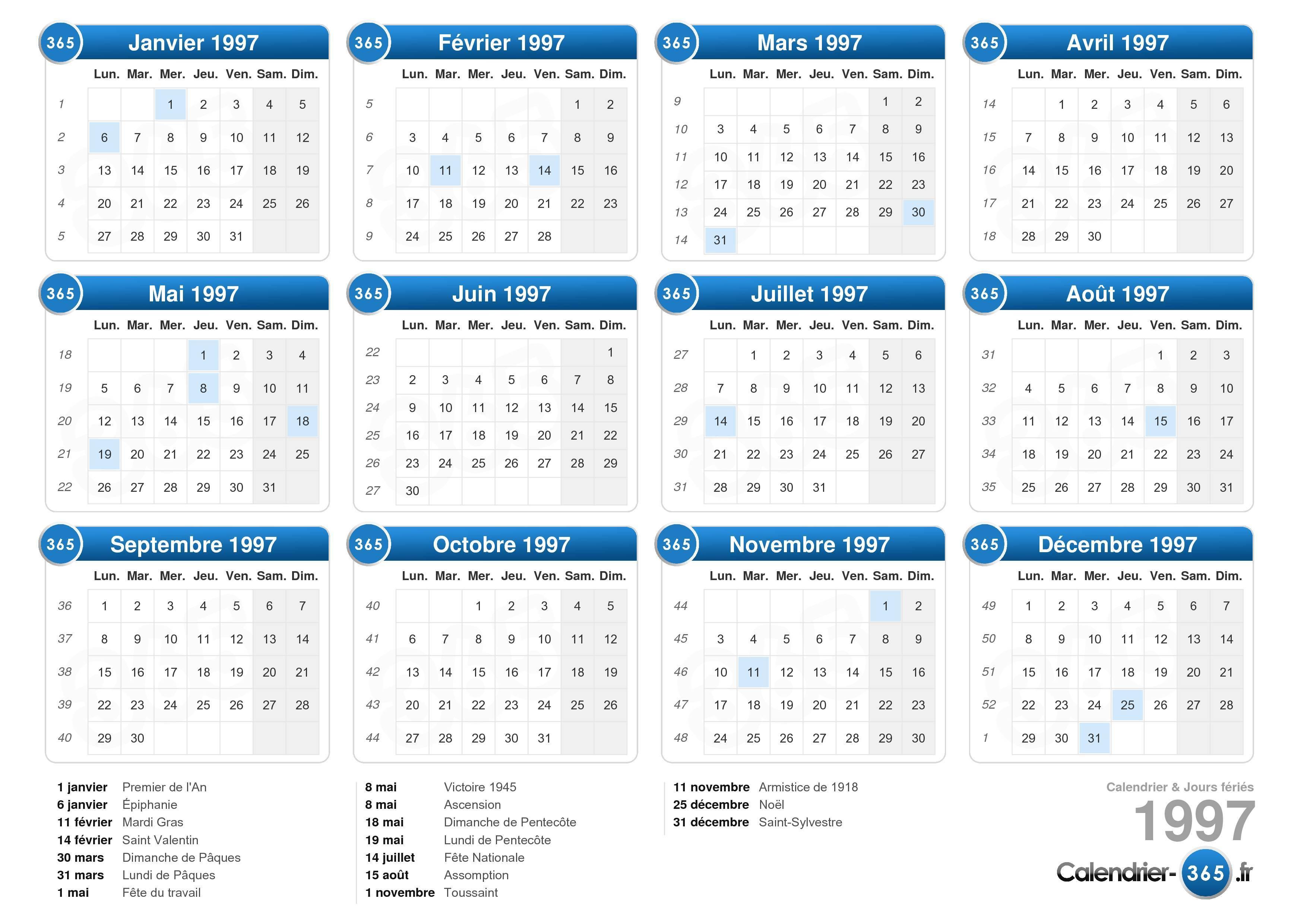 ... calendrier 1997 avec jours fériés format paysage 1 page calendrier