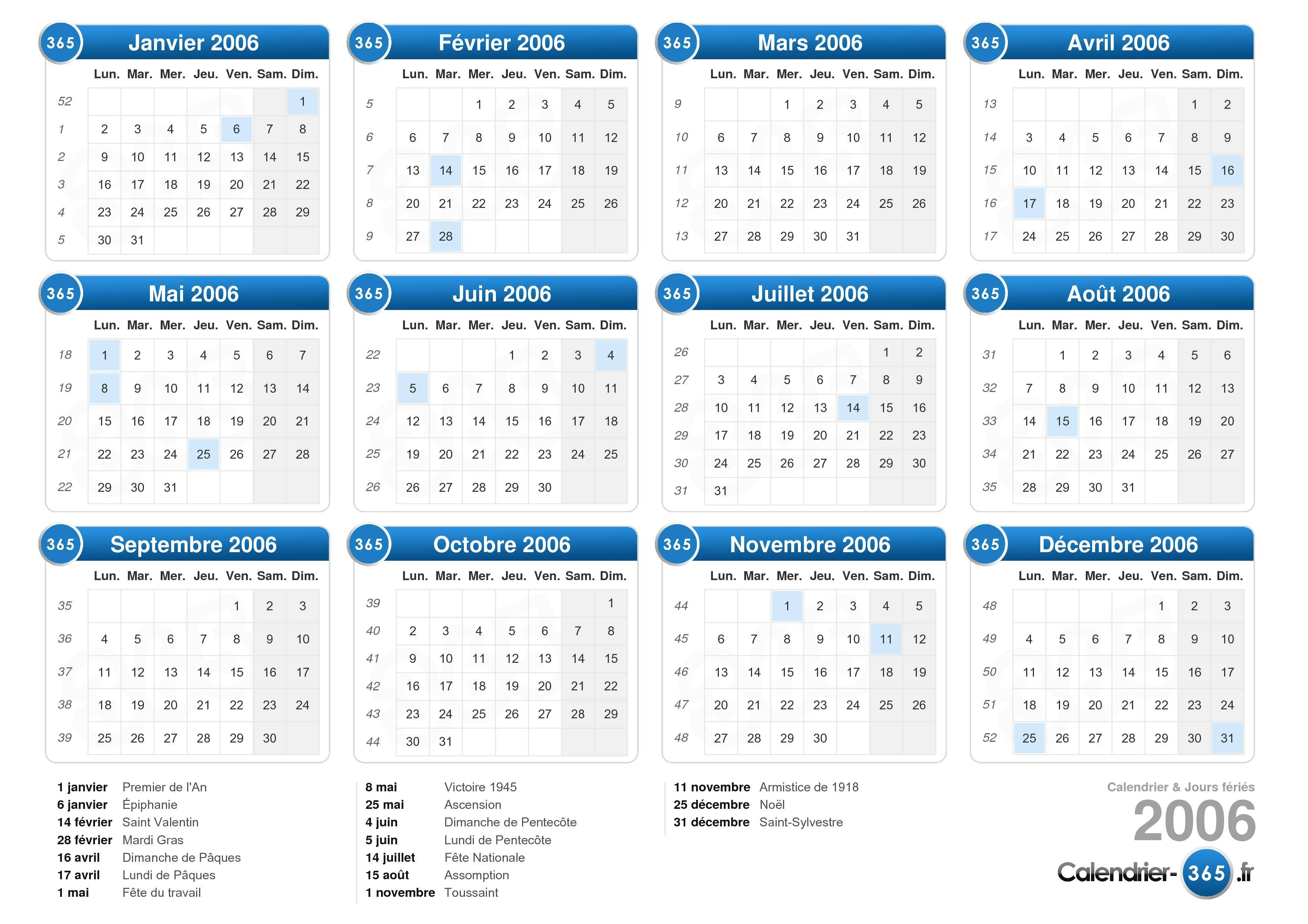 Télécharger le Calendrier 2006 avec jours fériés . (Format paysage ...