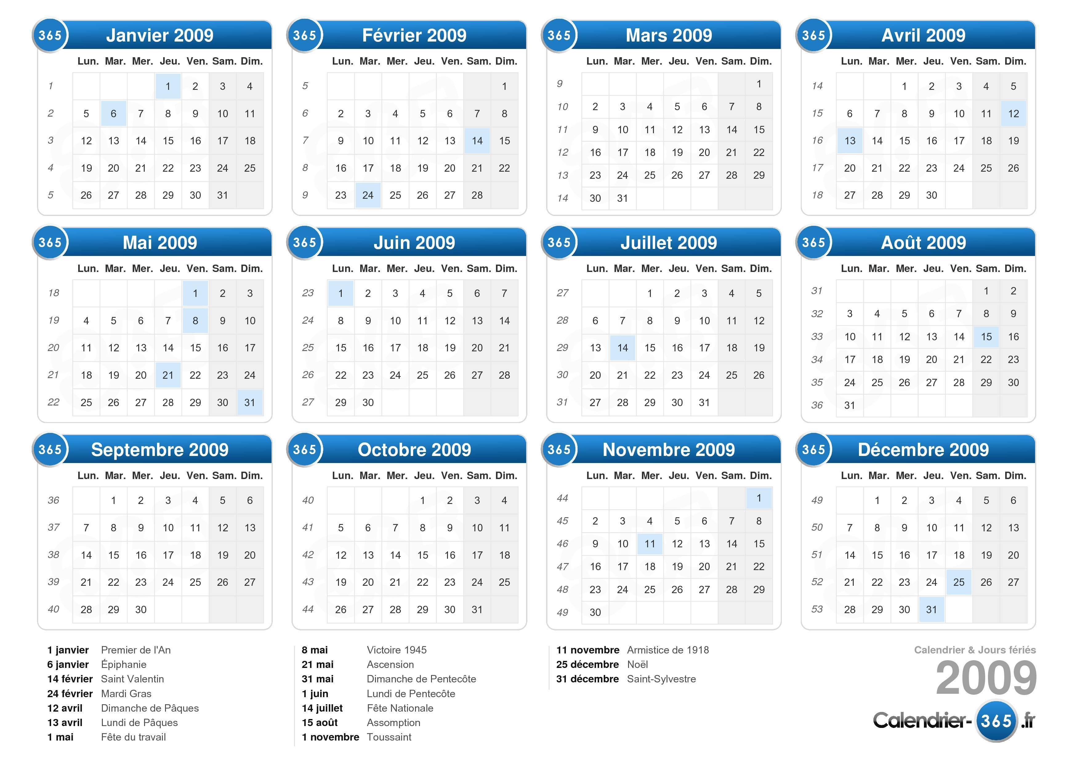 calendrier 2009 avec jours fériés format paysage 1 page calendrier ...