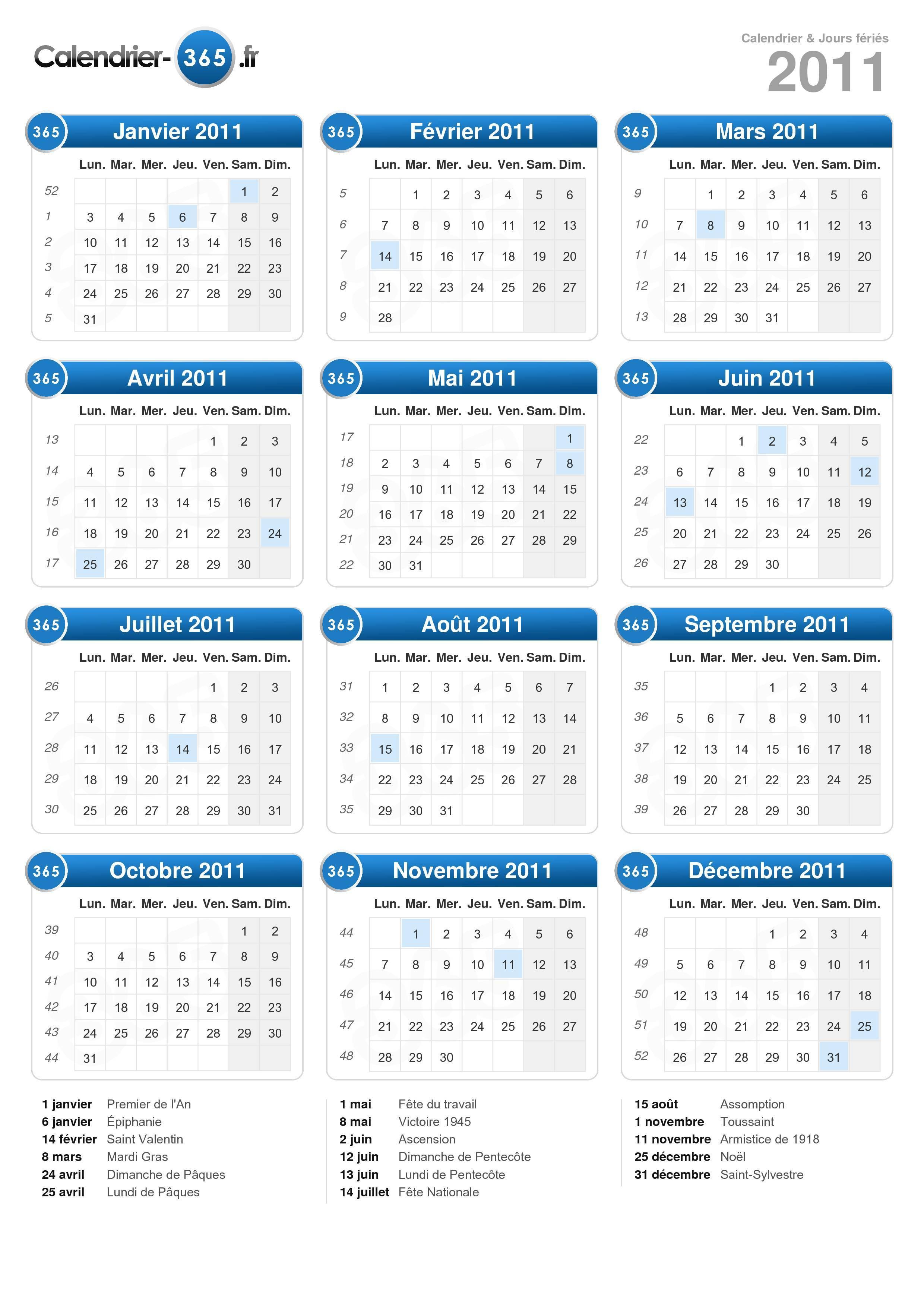 calendrier 2011 lune