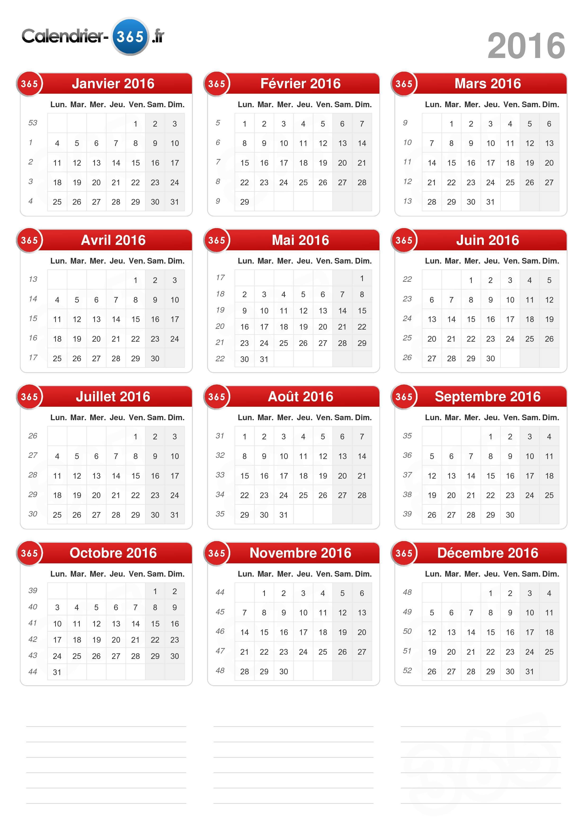 Télécharger le calendrier avec jours fériés 2016 pour imprimer.
