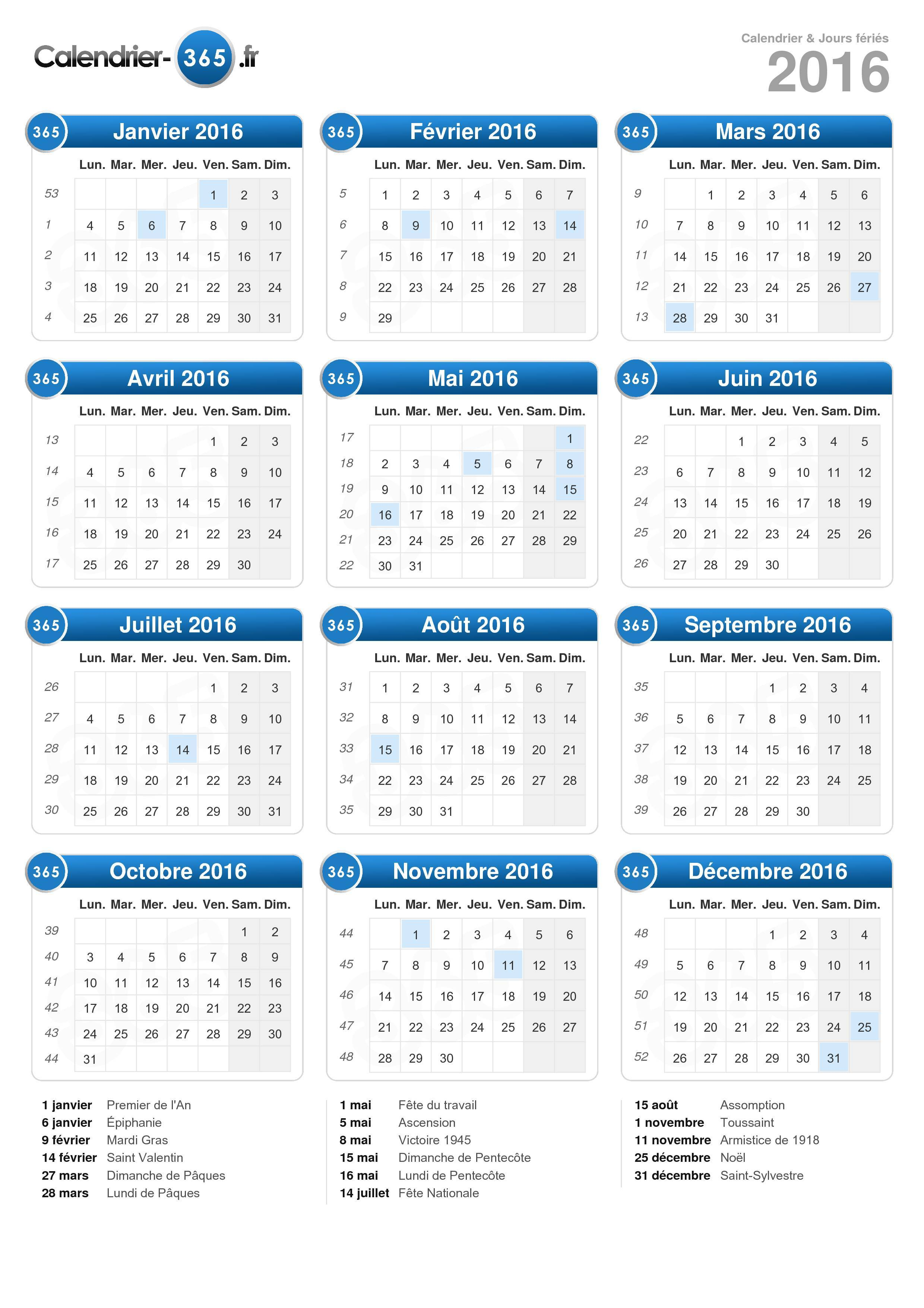 Calendrier 2016 for Jours de conges pour demenagement