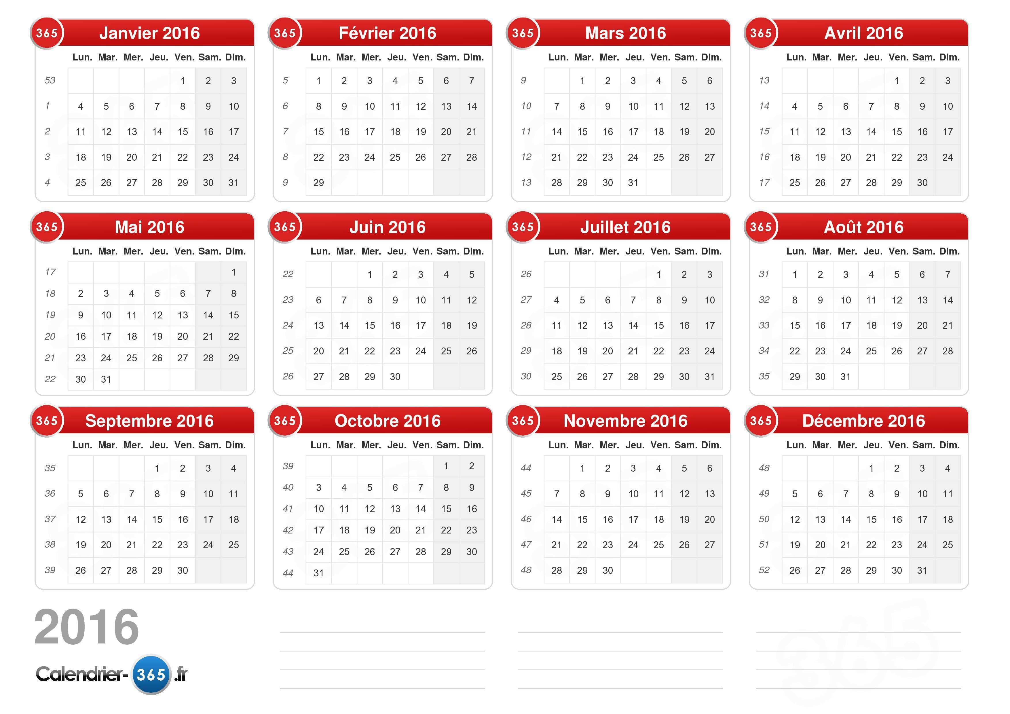 ... calendrier 2016 sans jours fériés format paysage 1 page calendrier