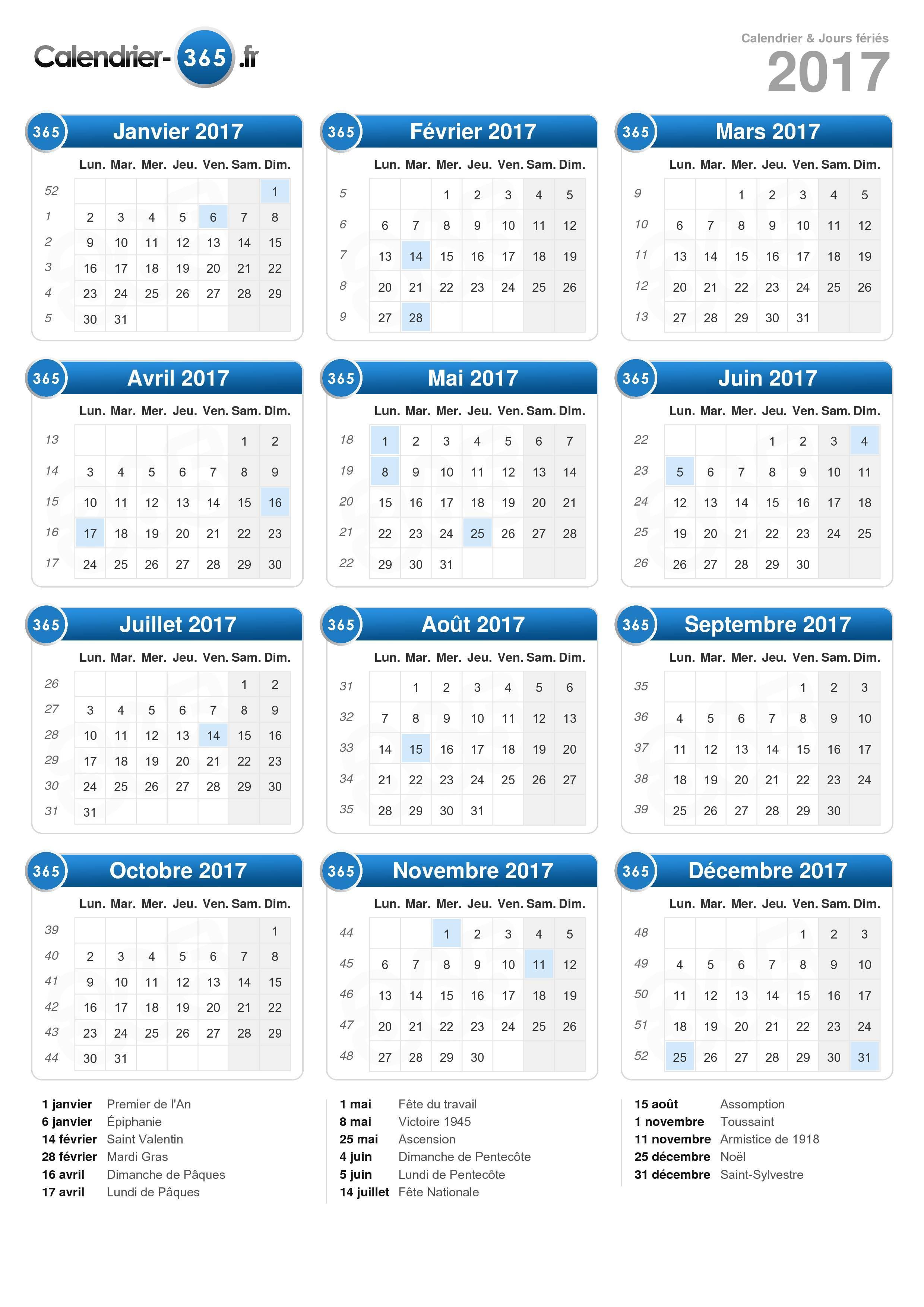 Calendrier 2017 à imprimer gratuit en PDF et Excel