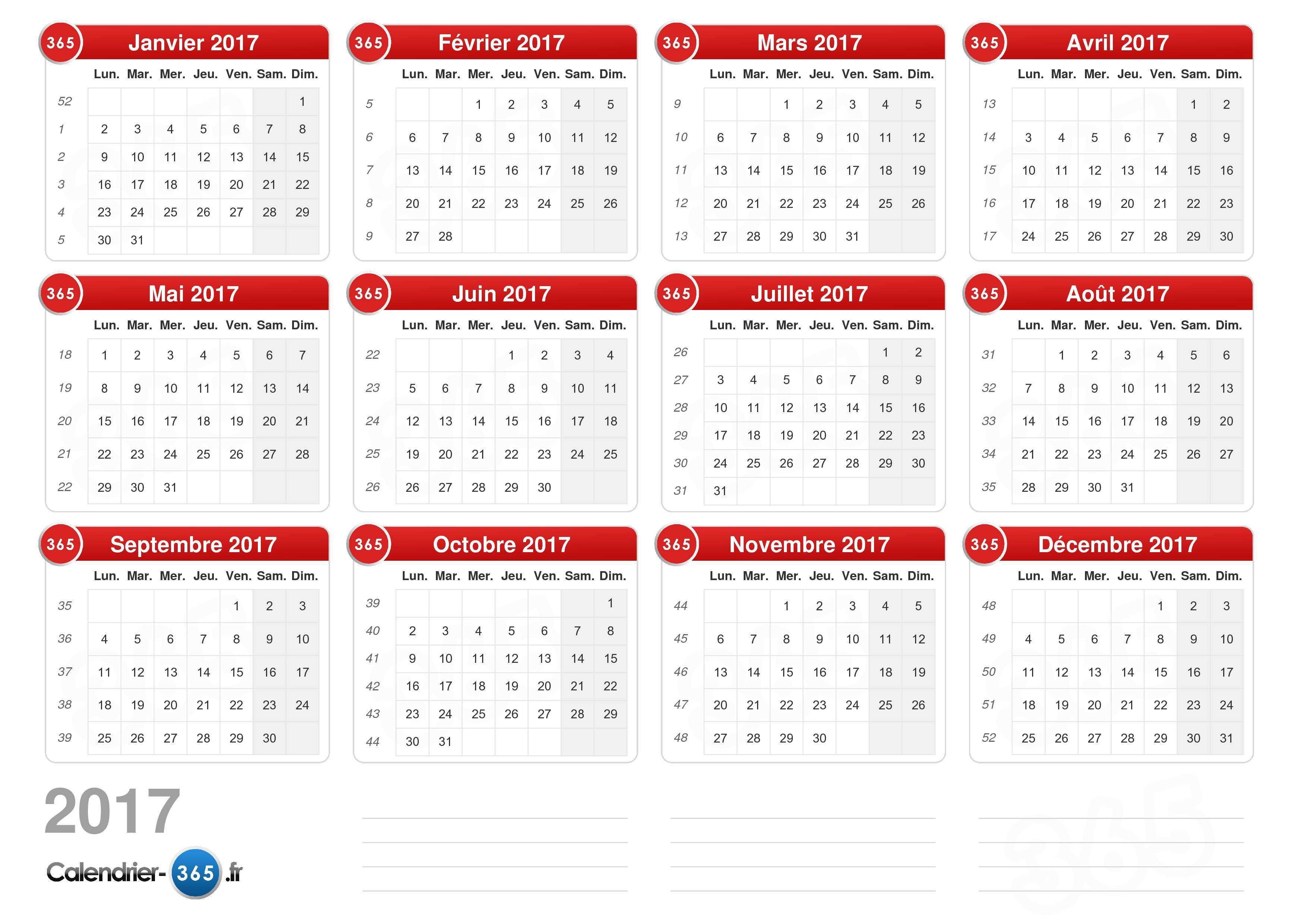 Calendrier 2017 - Date vacances noel 2017 ...
