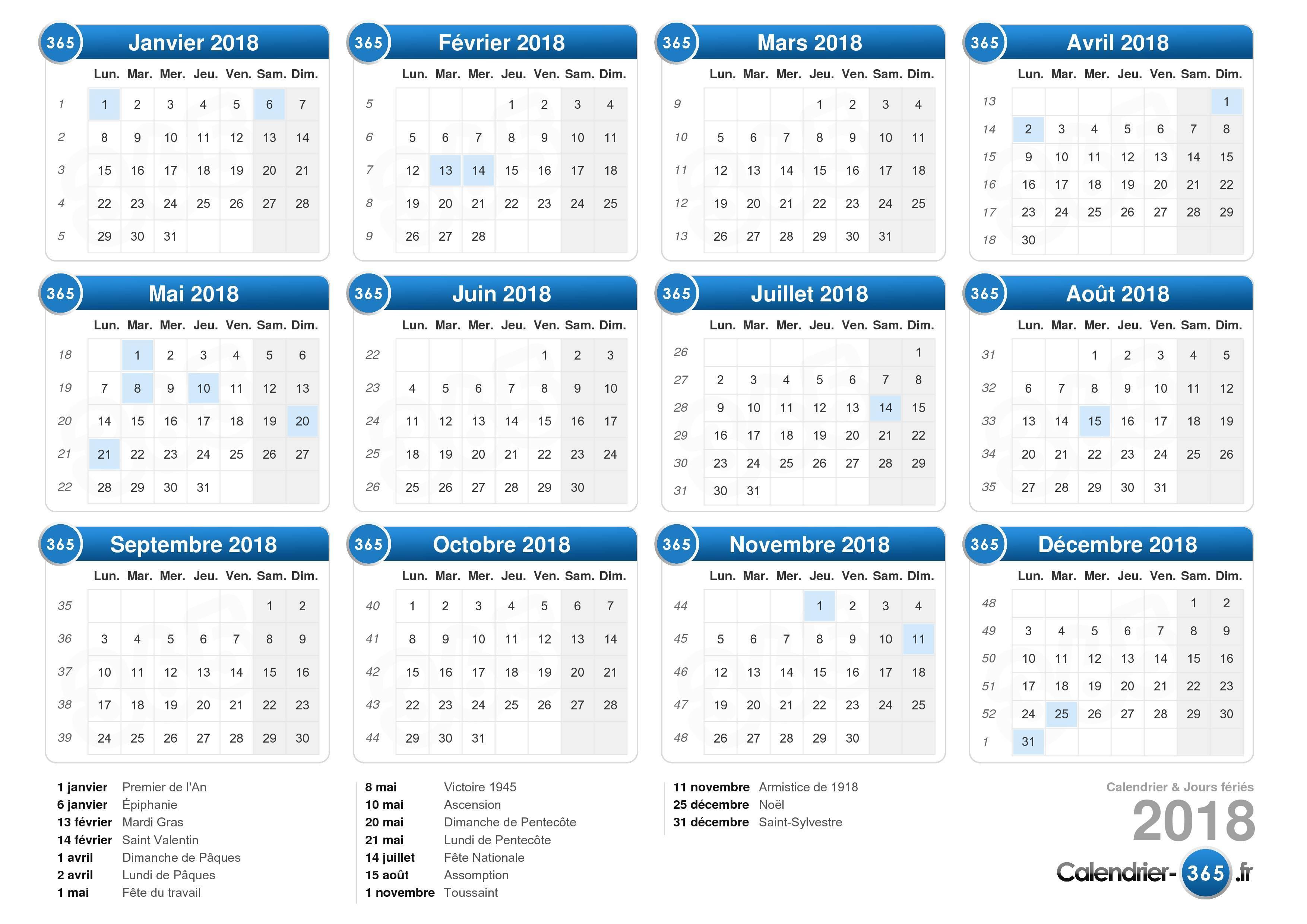 calendrier 2018 jours feries