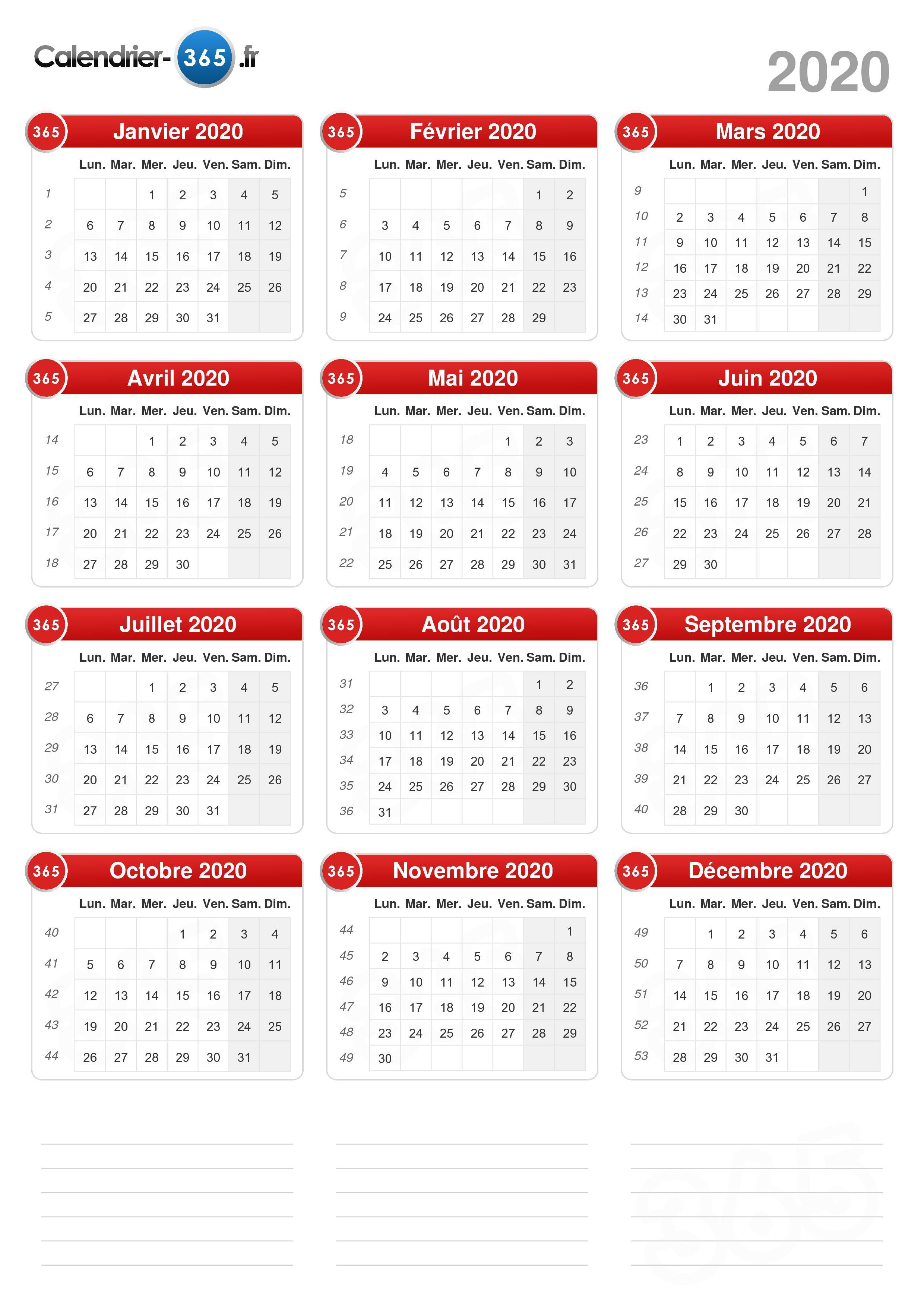 Calendrier Semaines 2020.Calendrier 2020