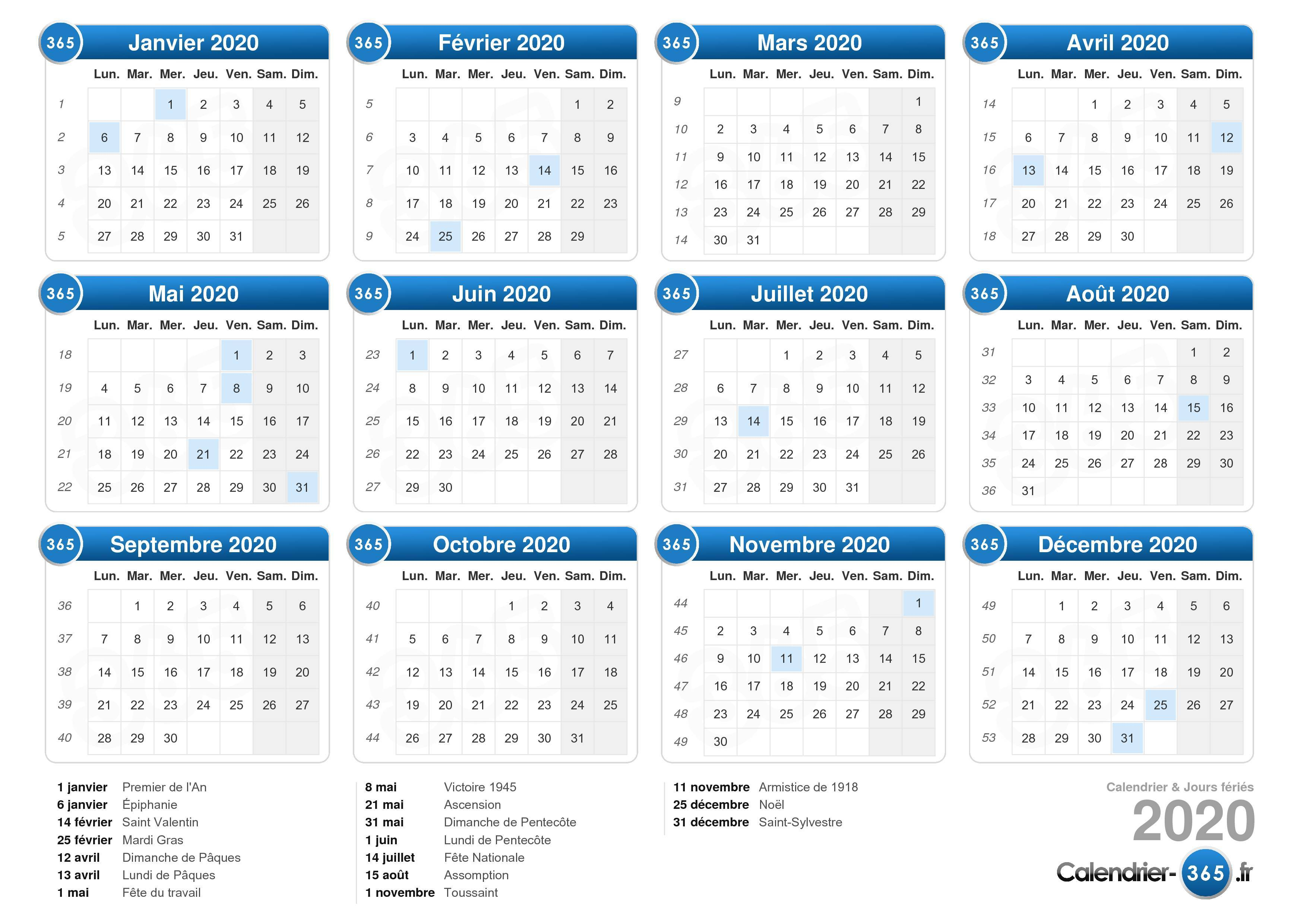 Semaines Calendrier 2020.Calendrier 2020