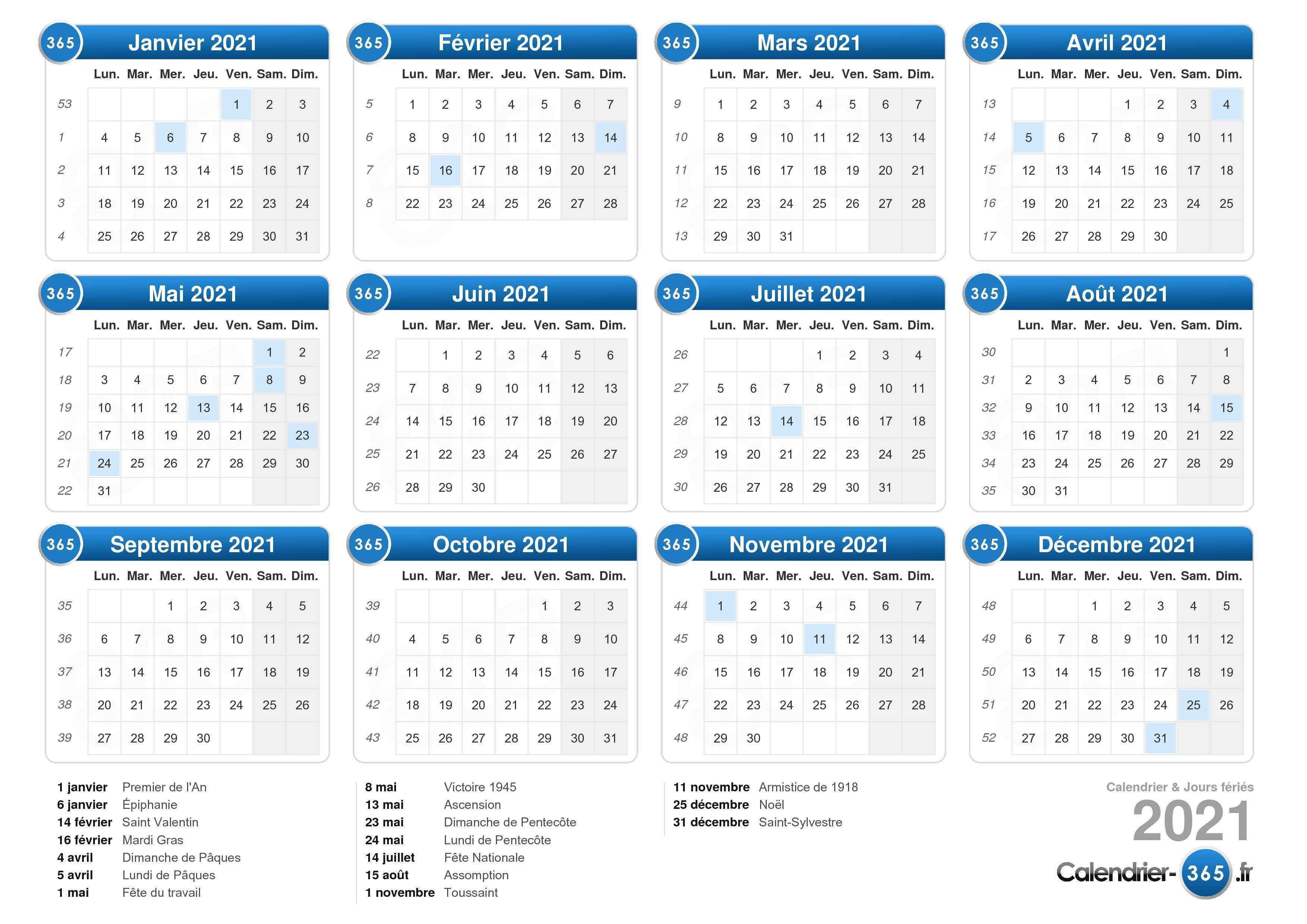 Calendrier 365 Jours 2021 Calendrier 2021