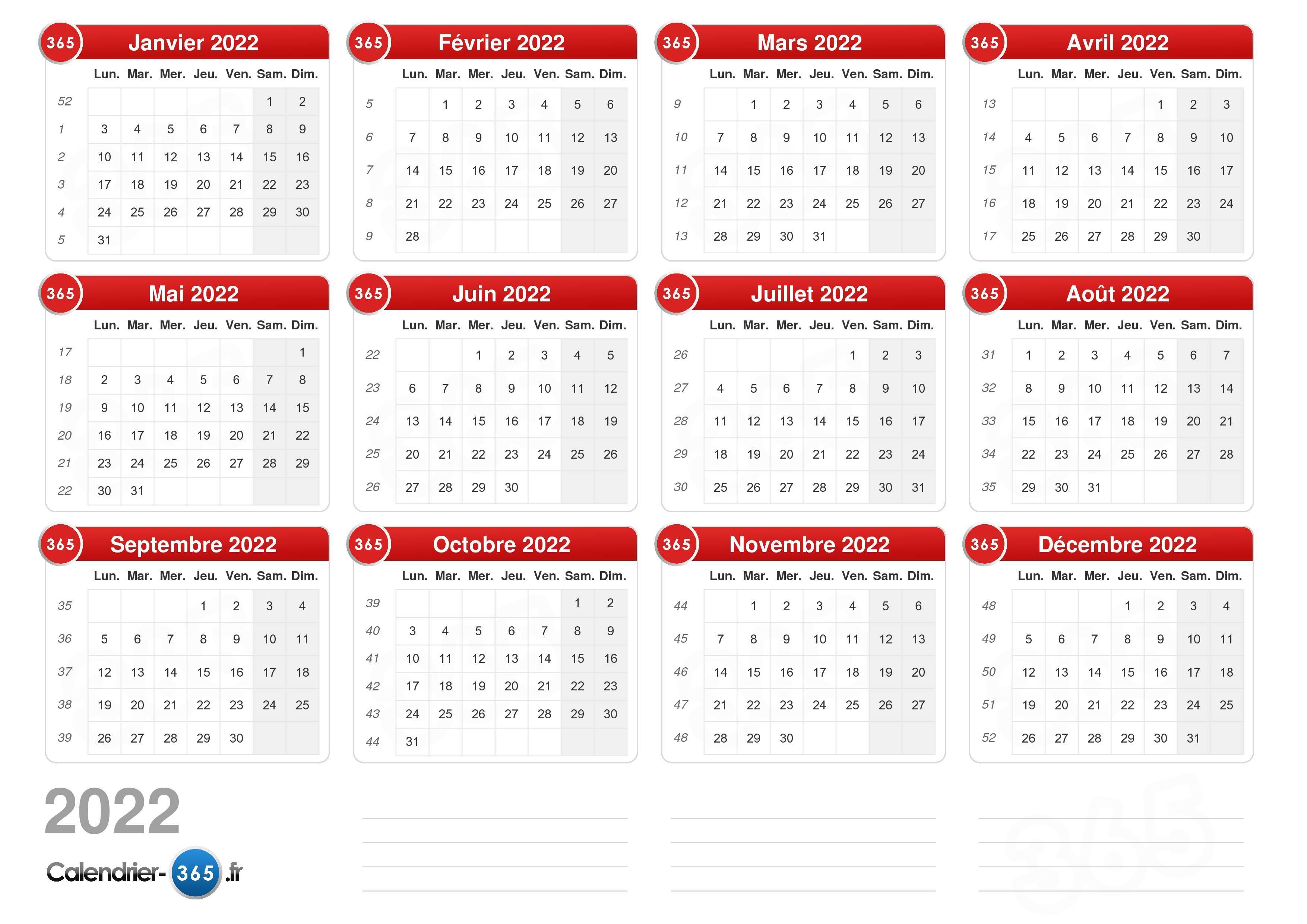 Calendrier 2019 Et 2022 à Imprimer Calendrier 2022