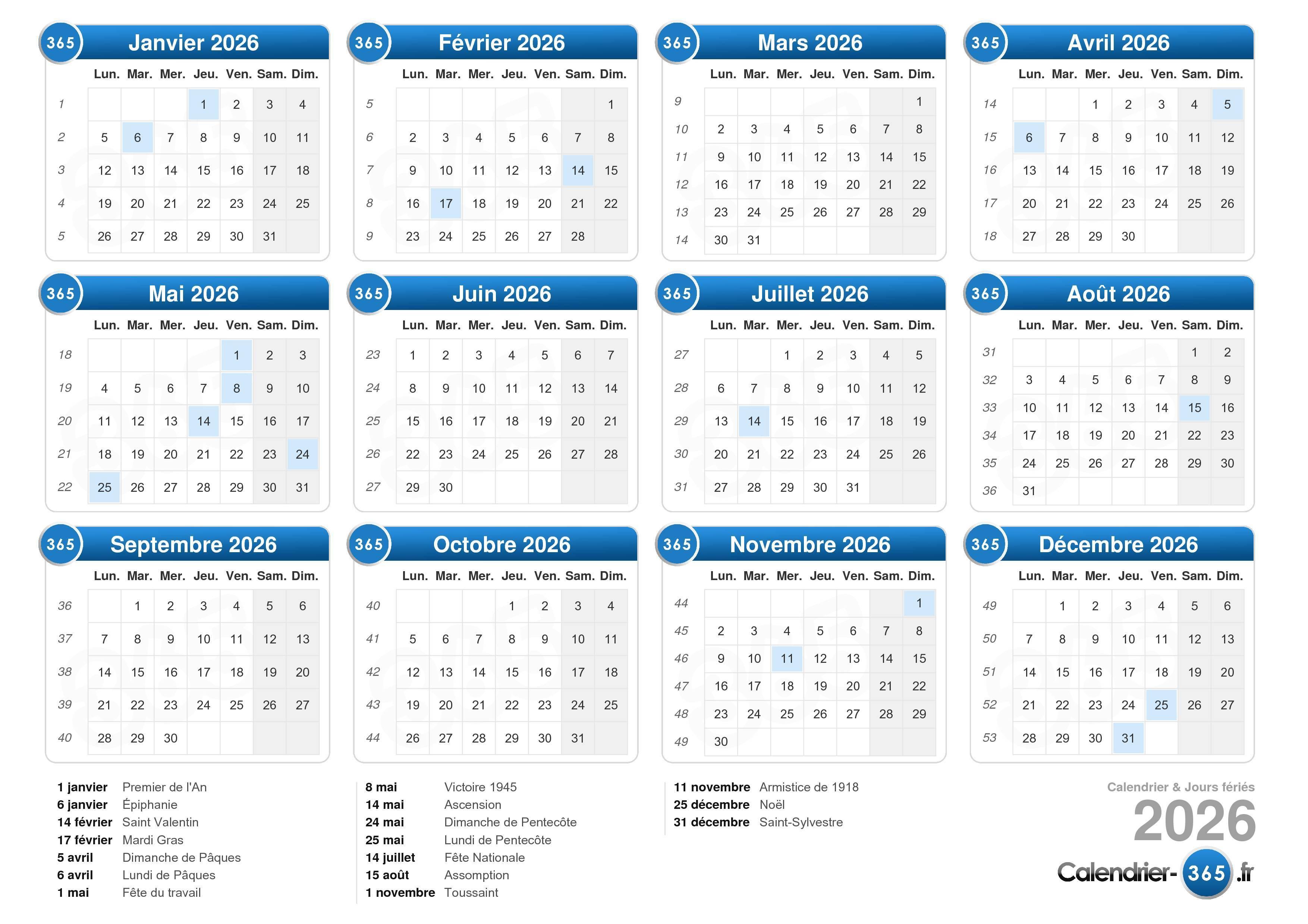 ... calendrier 2026 avec jours fériés format paysage 1 page calendrier