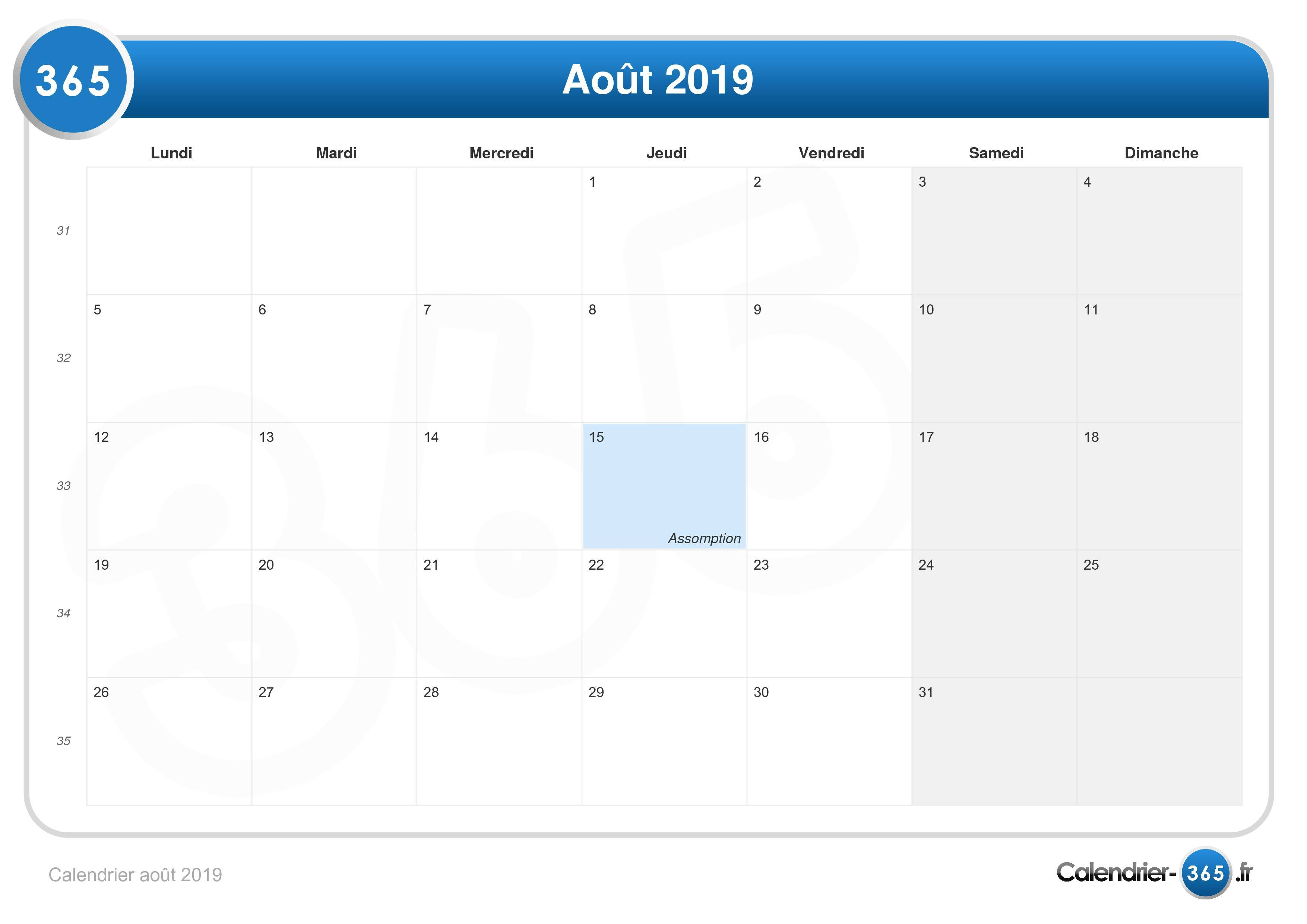 Semaine 34 Calendrier 2019.Calendrier Aout 2019