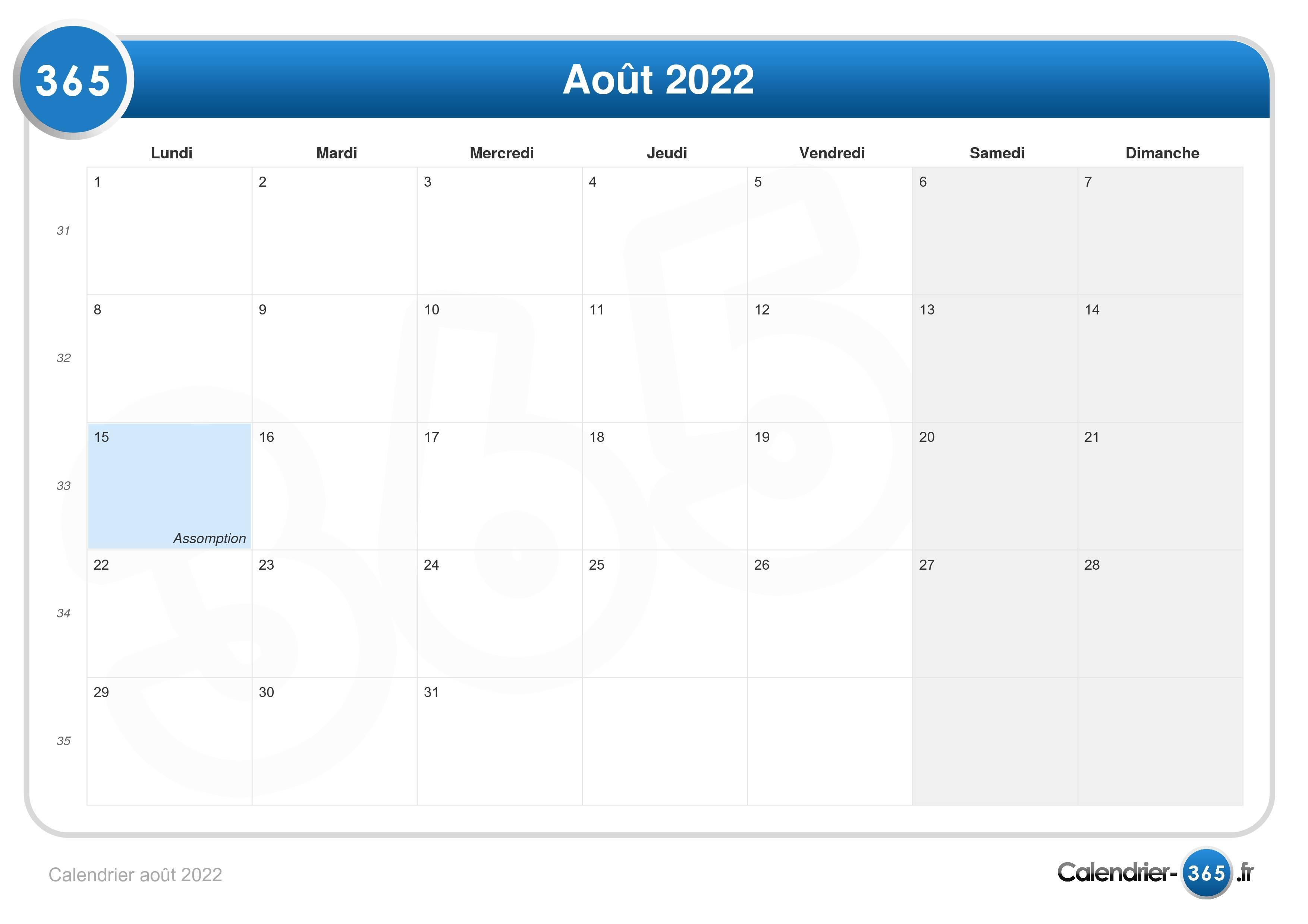 Aout 2022 Calendrier Calendrier août 2022