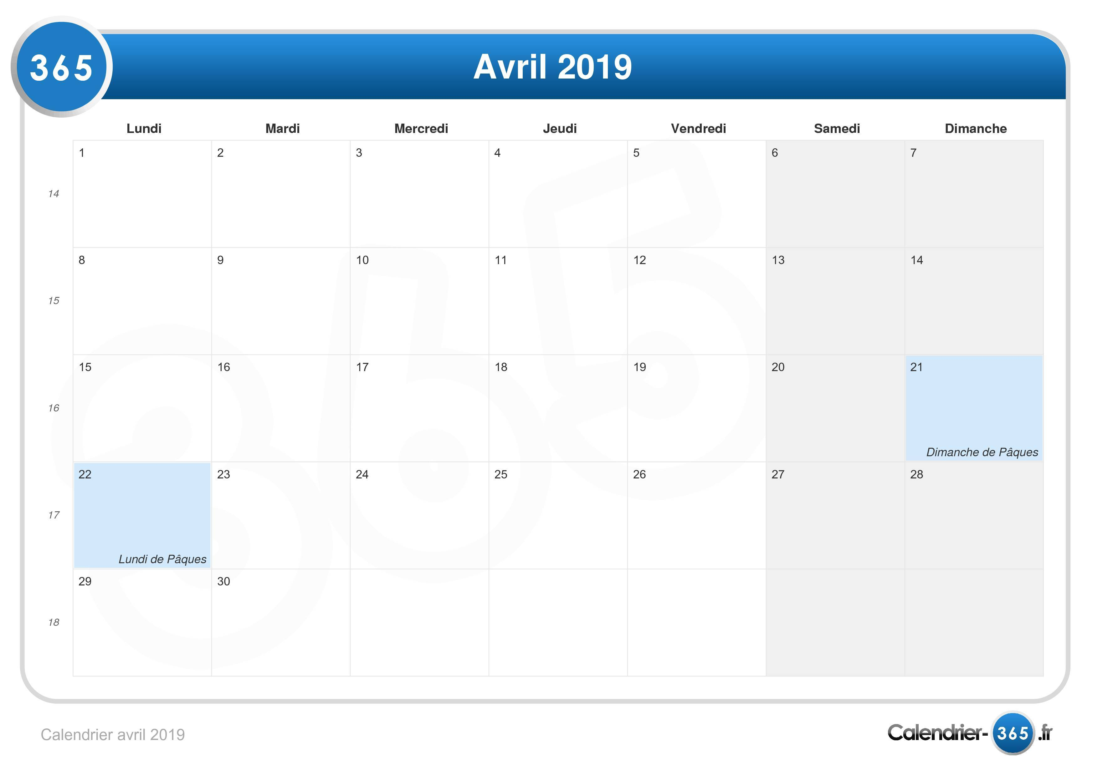 Calendrier Paques 2019.Calendrier Avril 2019