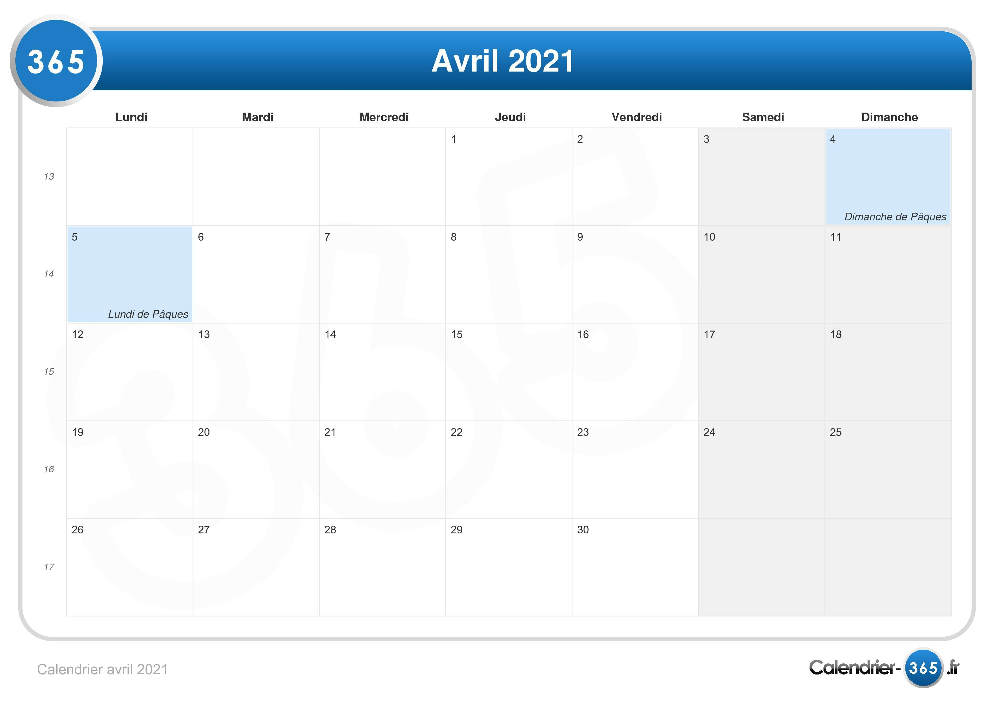 Calendrier 2021 Paques Calendrier avril 2021
