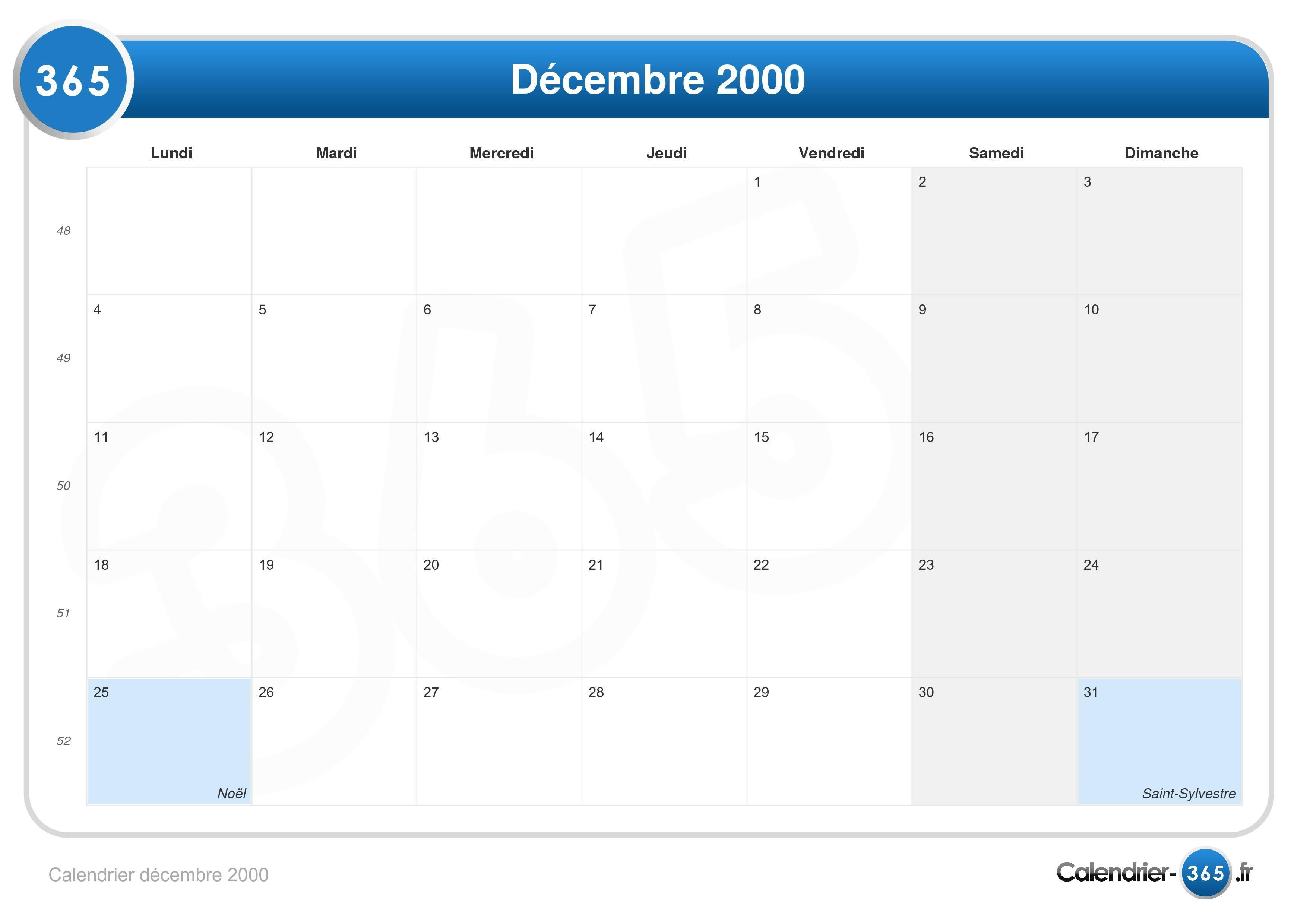 Calendrier Ramadan 2020 Caen.Calendrier Decembre 2000