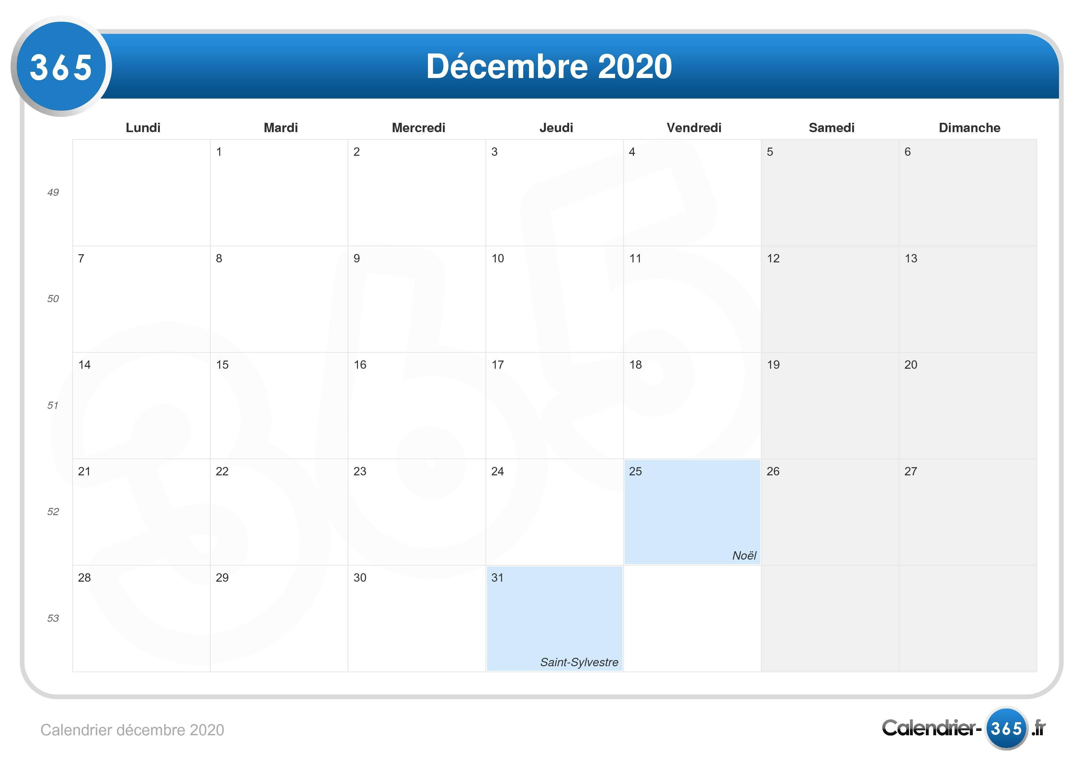 Calendrier De Decembre 2020.Calendrier Decembre 2020