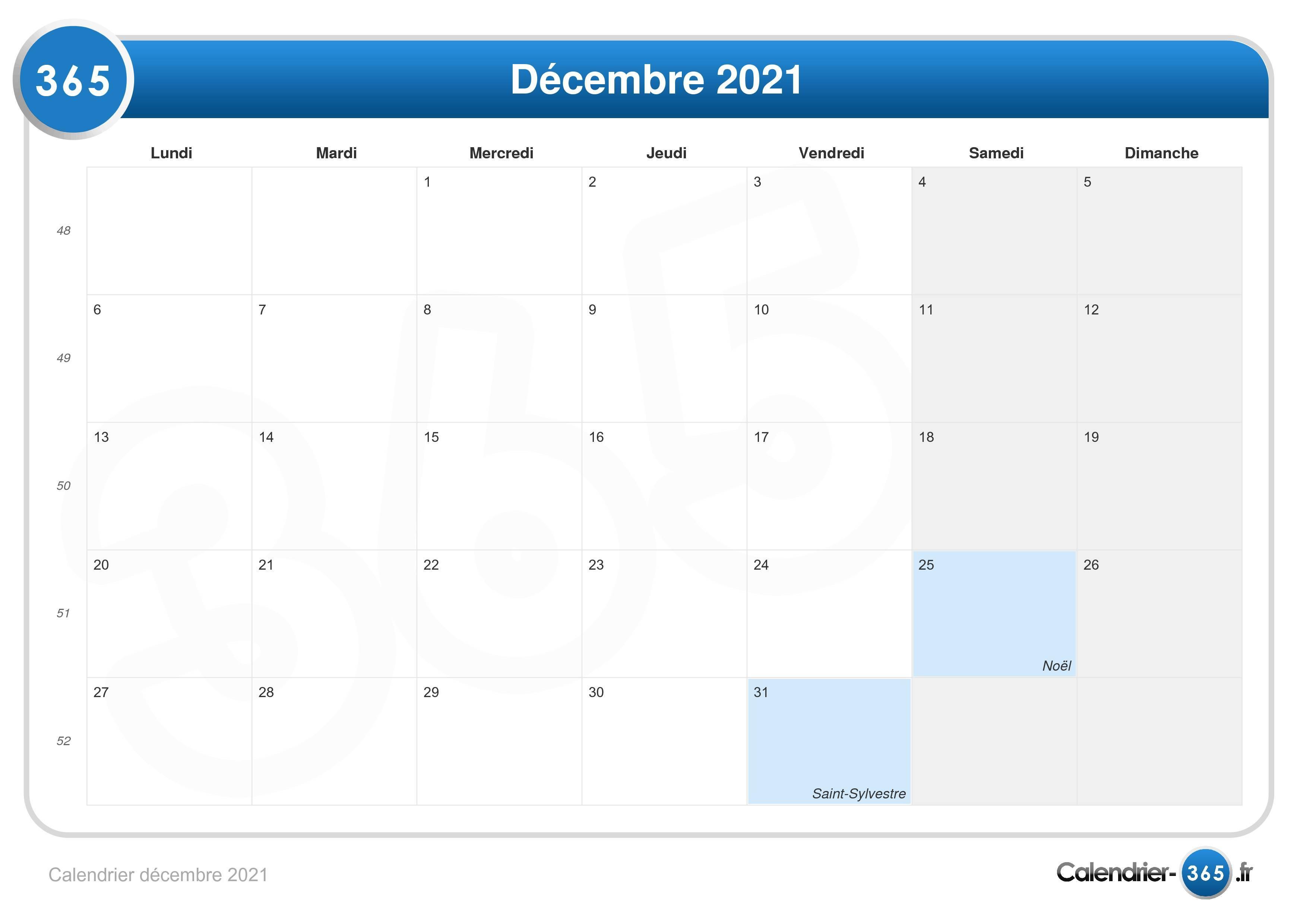 Calendrier Décembre 2021 Calendrier décembre 2021