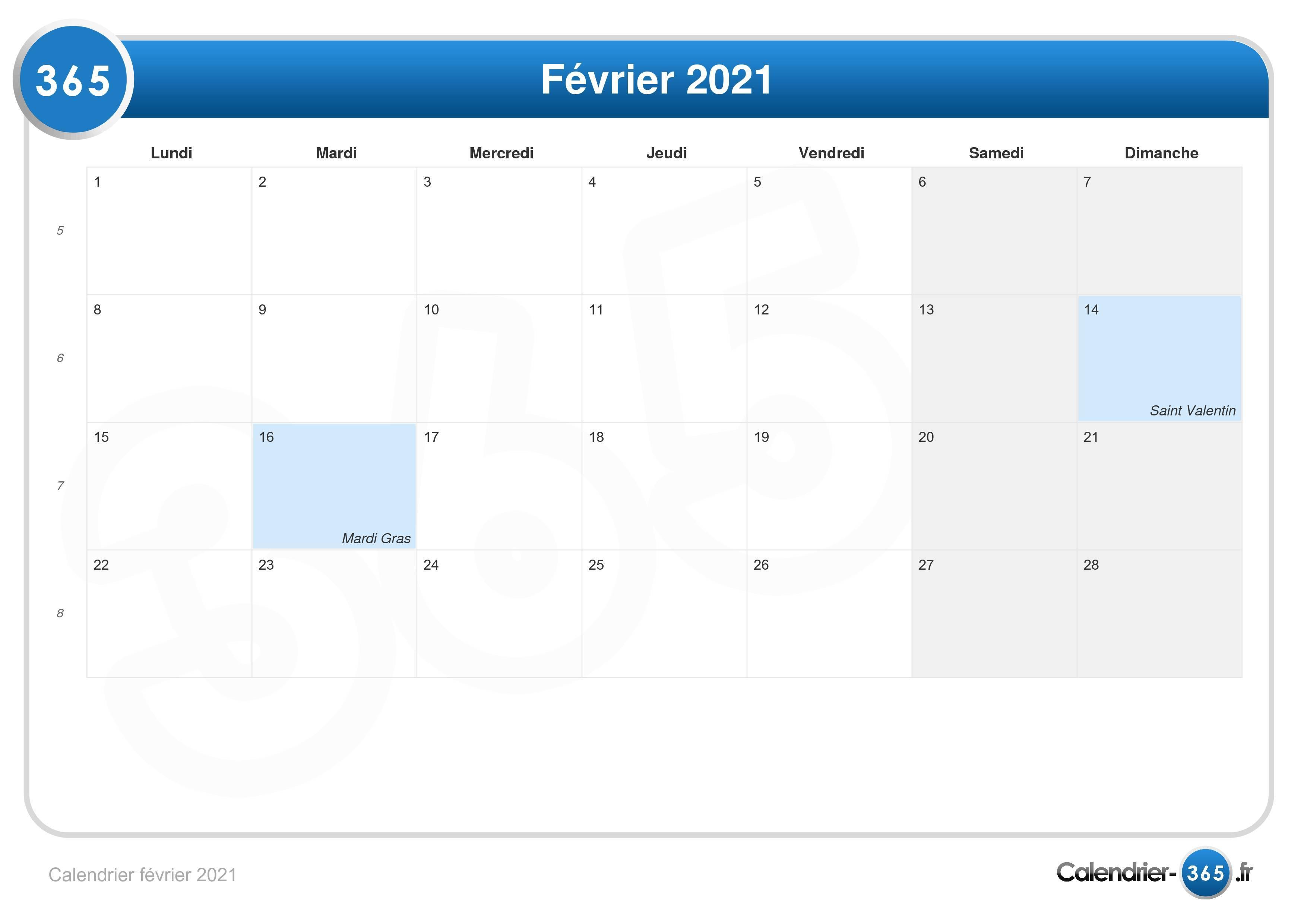 Calendrier février 2021