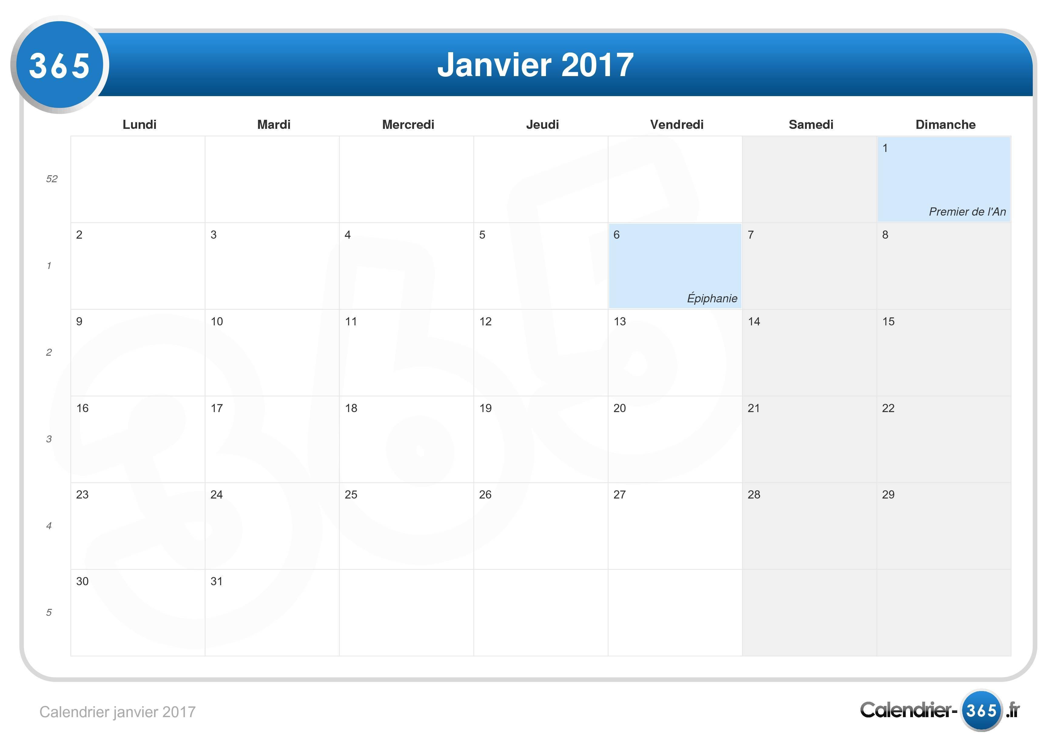Calendrier janvier 2017 - Les soldes janvier 2017 ...