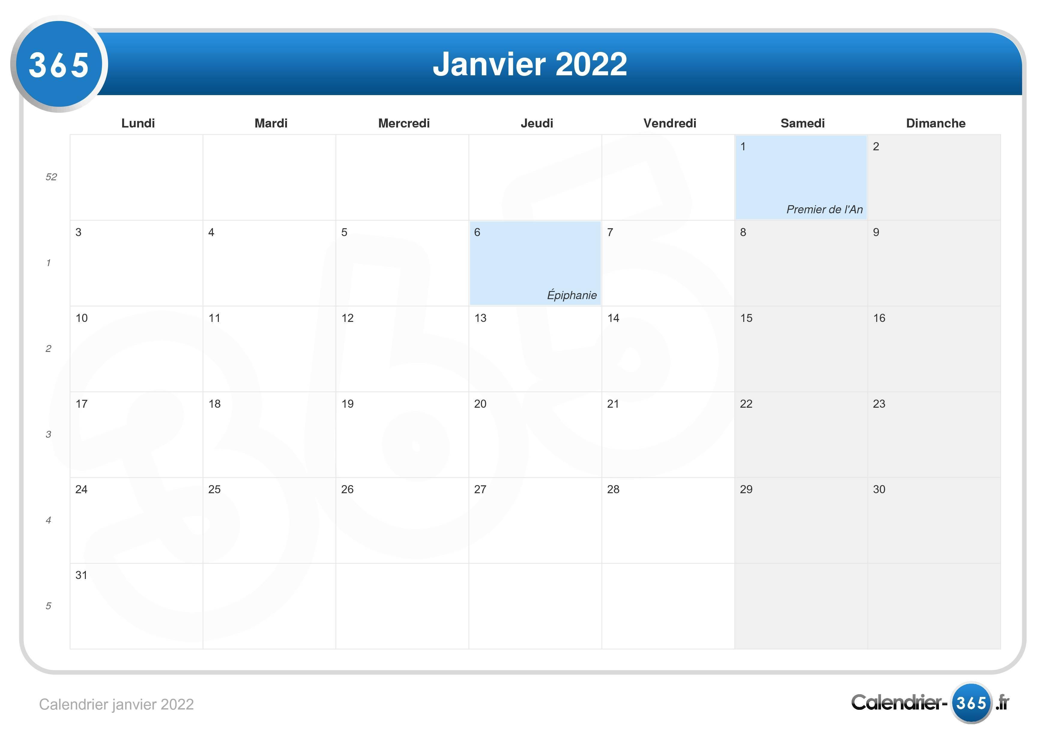 Janvier 2022 Calendrier Calendrier janvier 2022