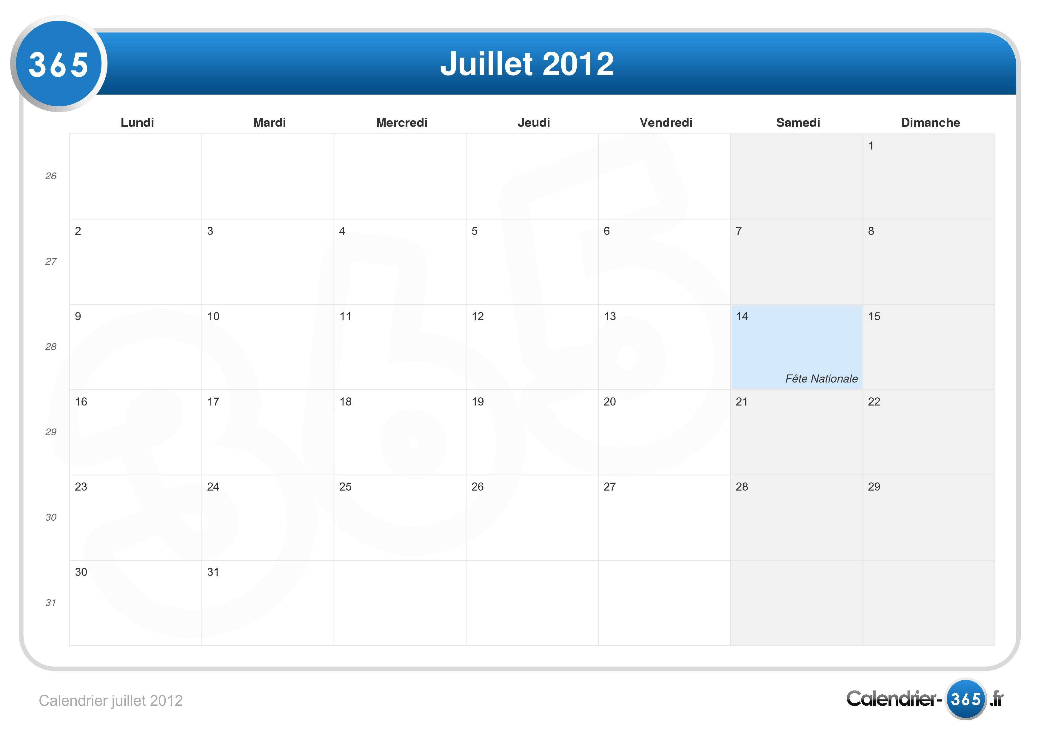 calendrier juillet 2012. Black Bedroom Furniture Sets. Home Design Ideas