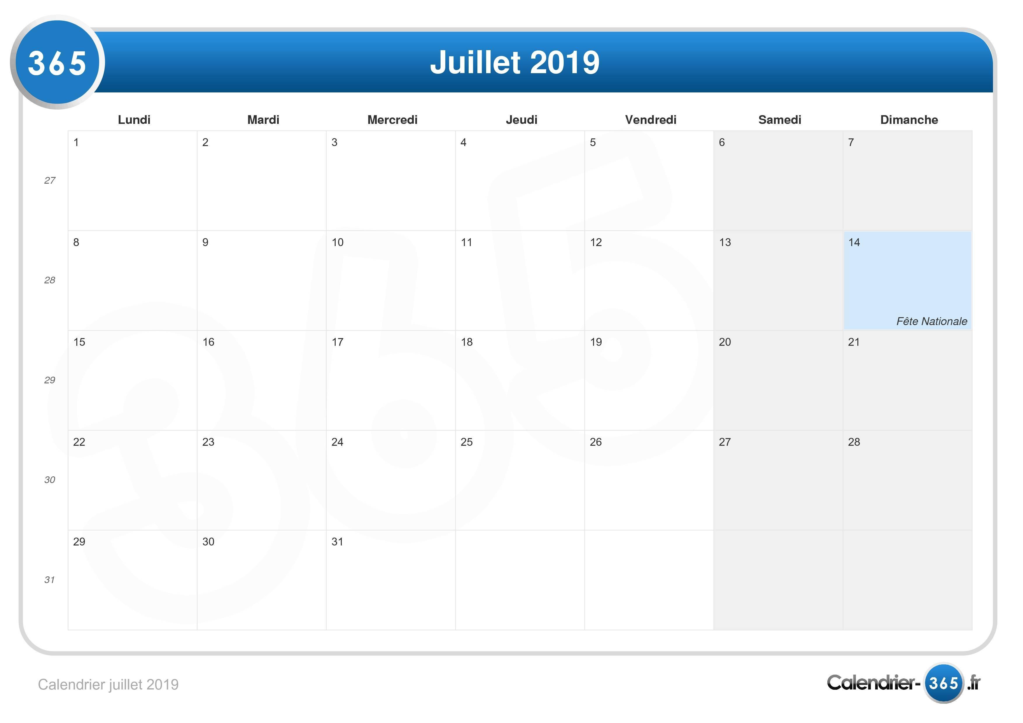 Calendrier Du Mois De Juillet 2019.Calendrier Juillet 2019