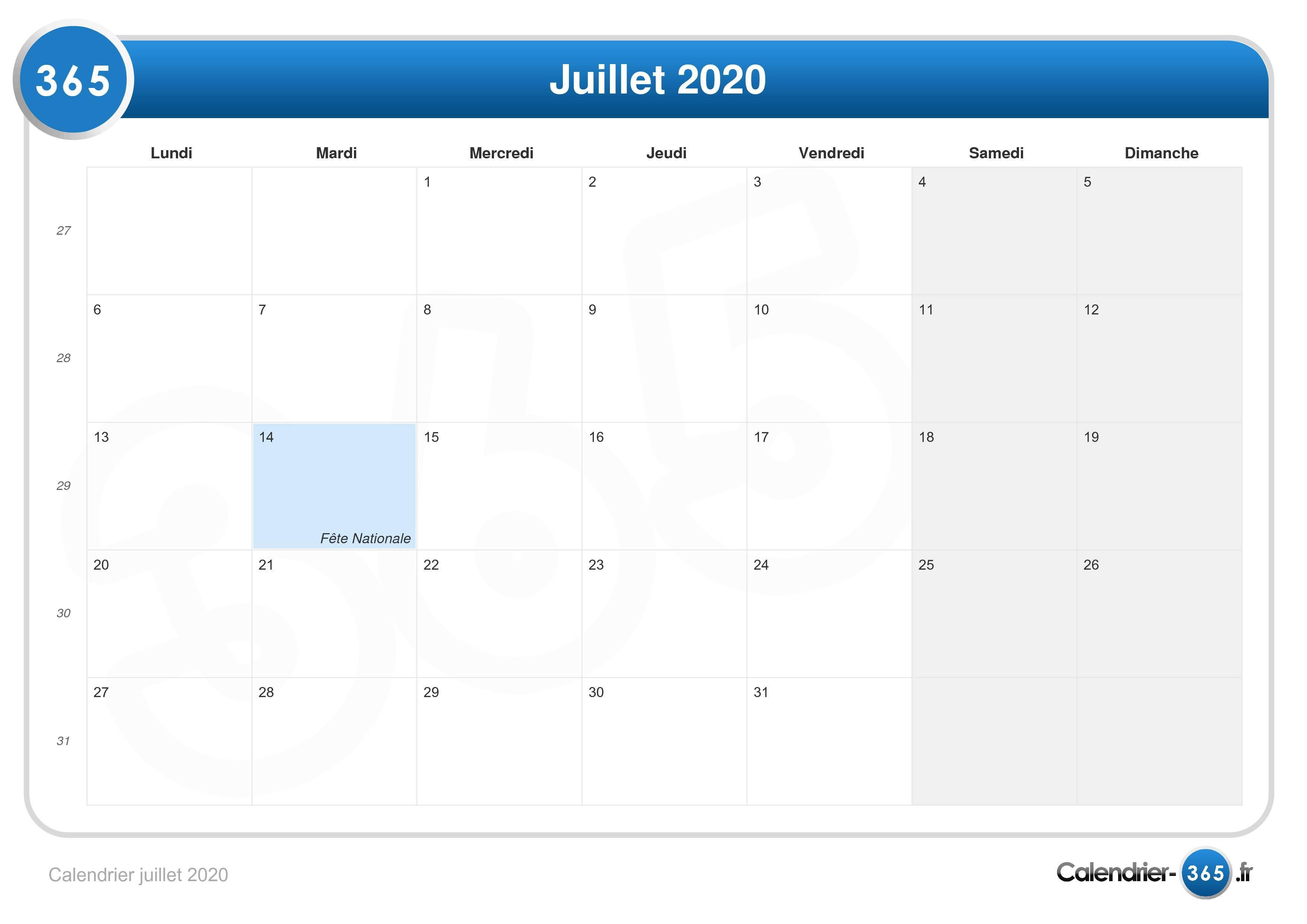 Calendrier Juillet 2020 A Imprimer Gratuit.Calendrier Juillet 2020