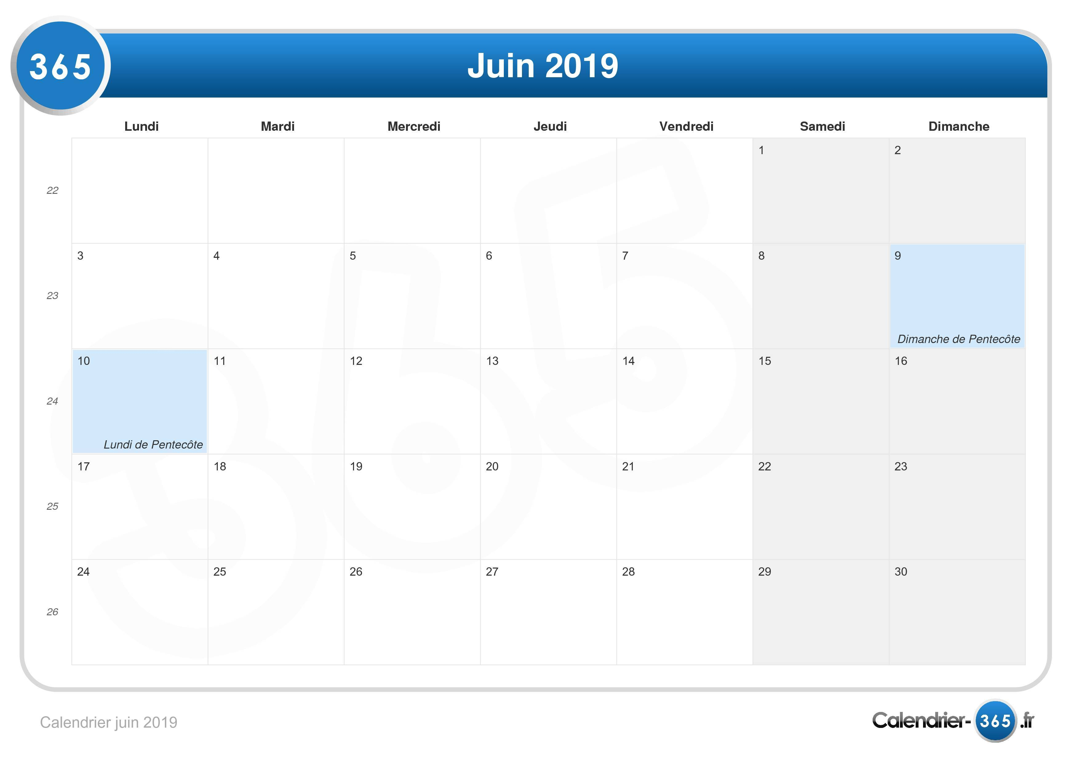 Semaine 2019 Calendrier.Calendrier Juin 2019