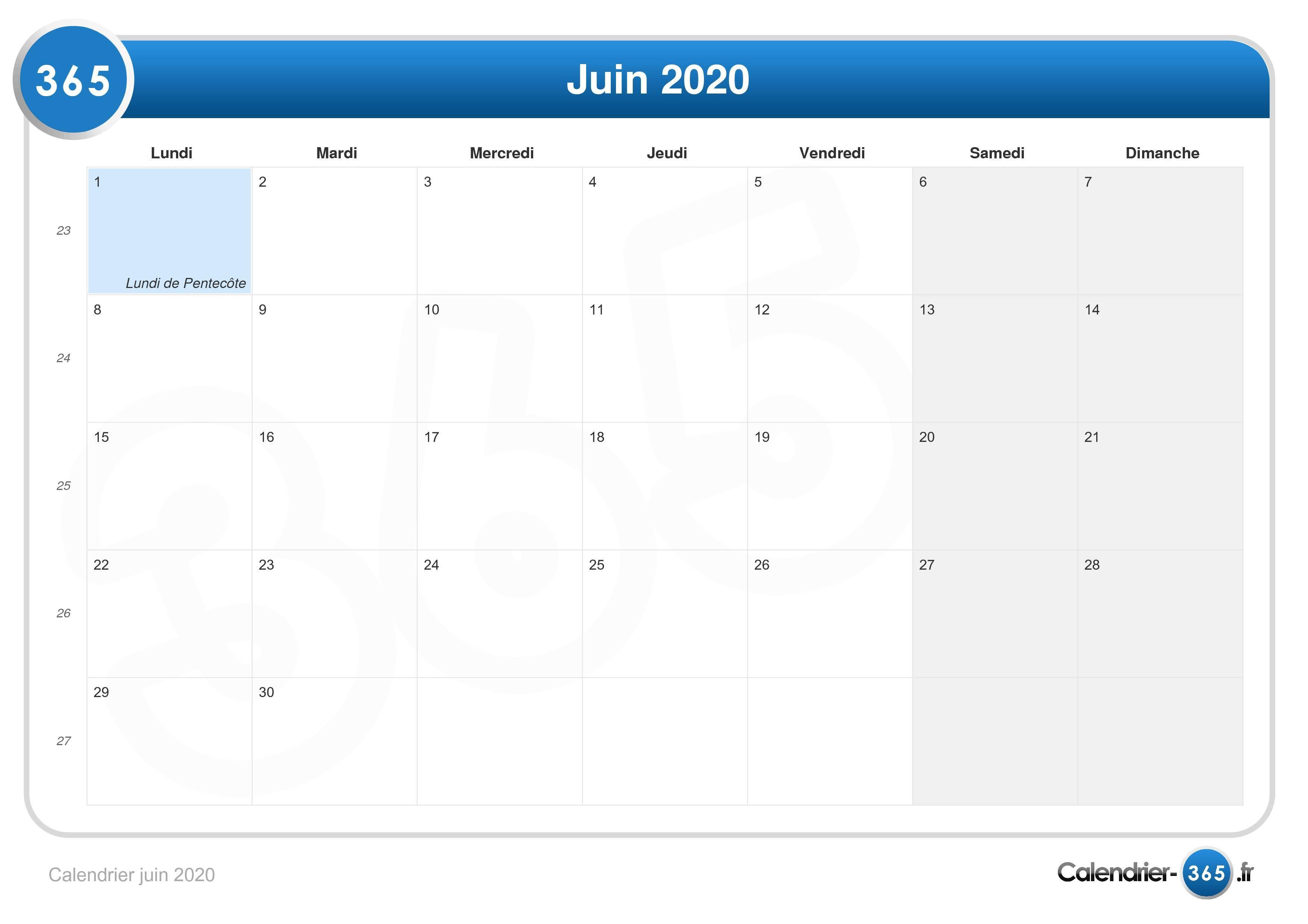 Calendrier Mai 2020 à Imprimer.Calendrier Juin 2020