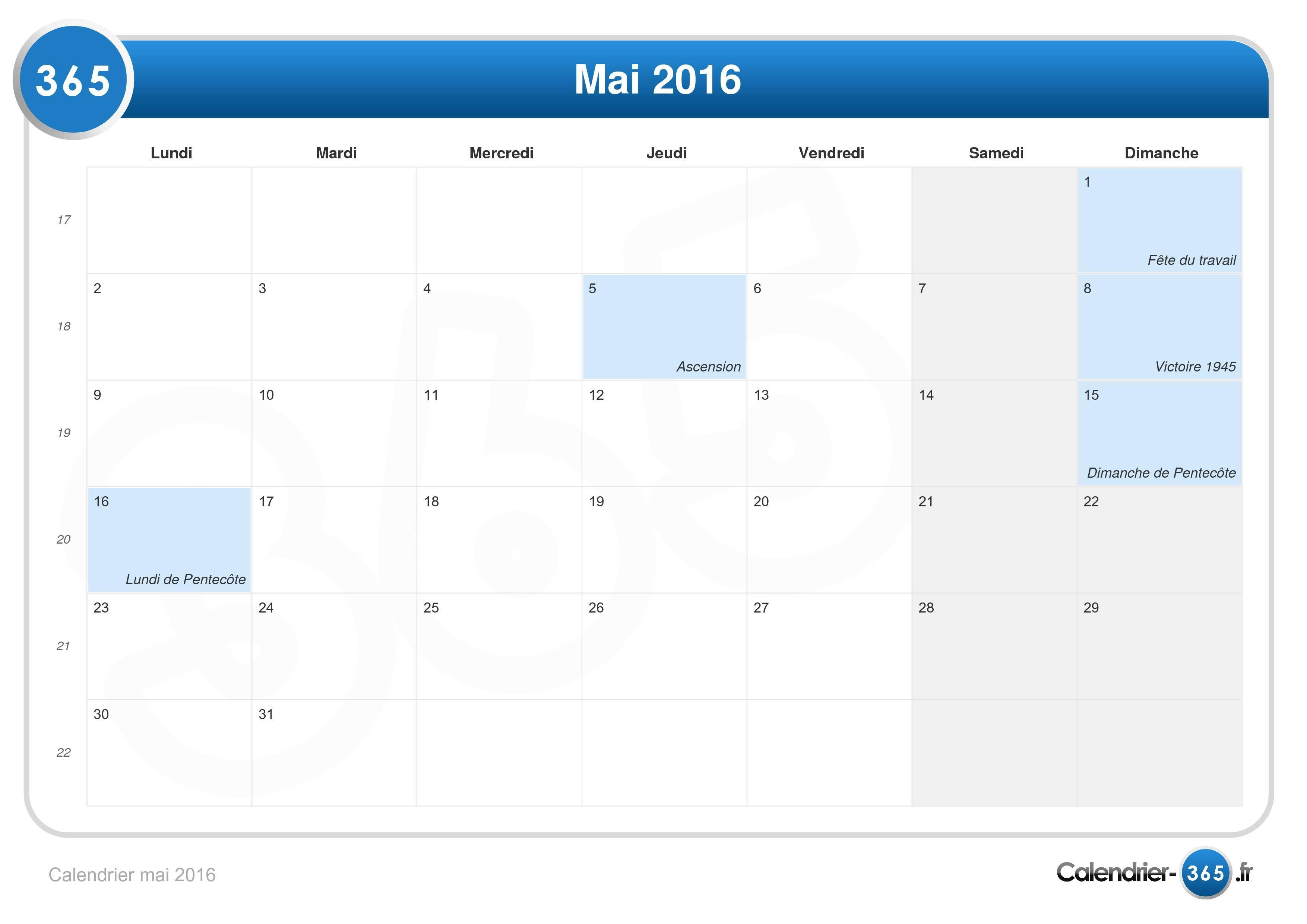 Calendrier mai 2016 - Jour de l ascension 2017 ...