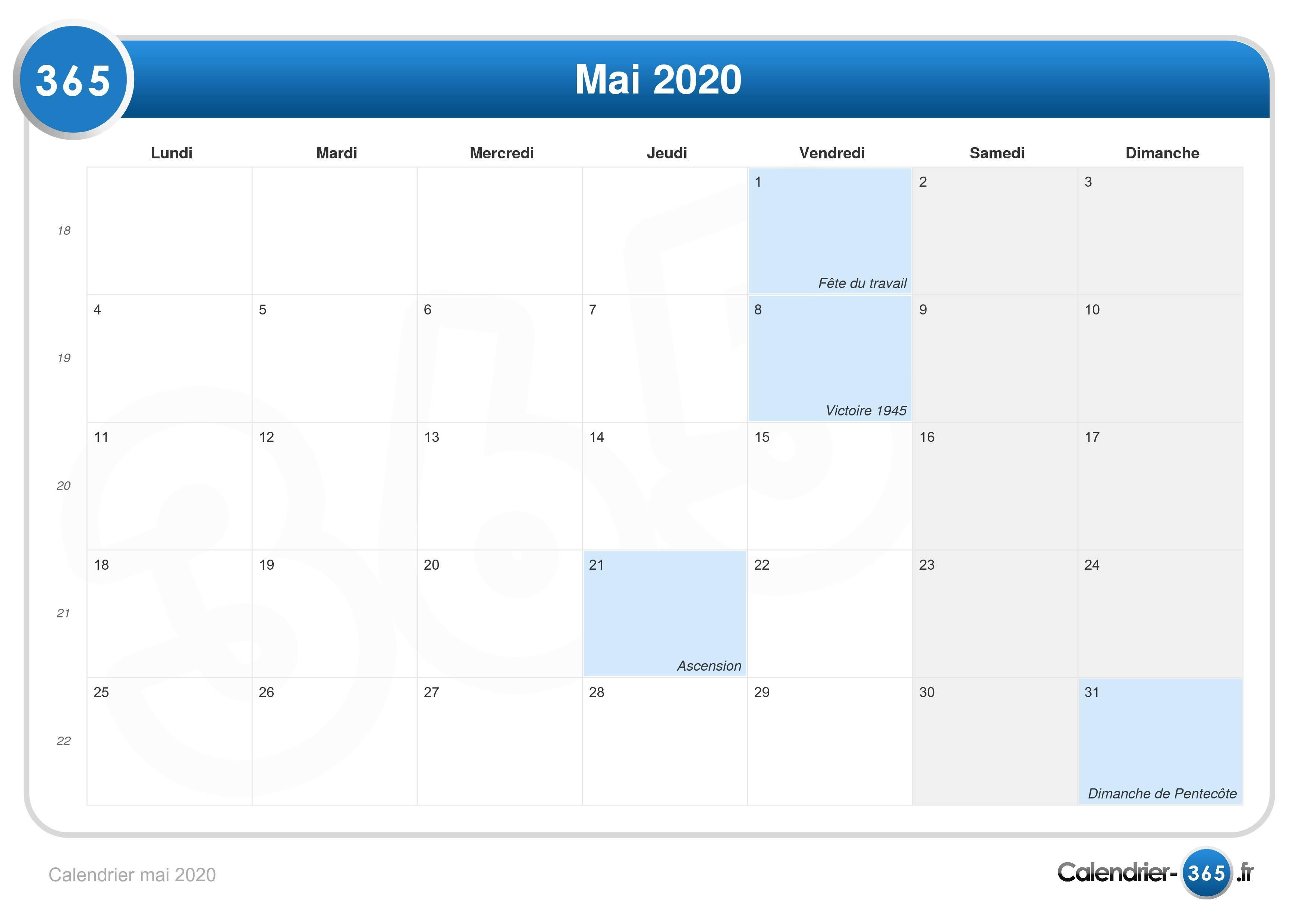 Calendrier Lunaire Mai 2020.Calendrier Mai 2020