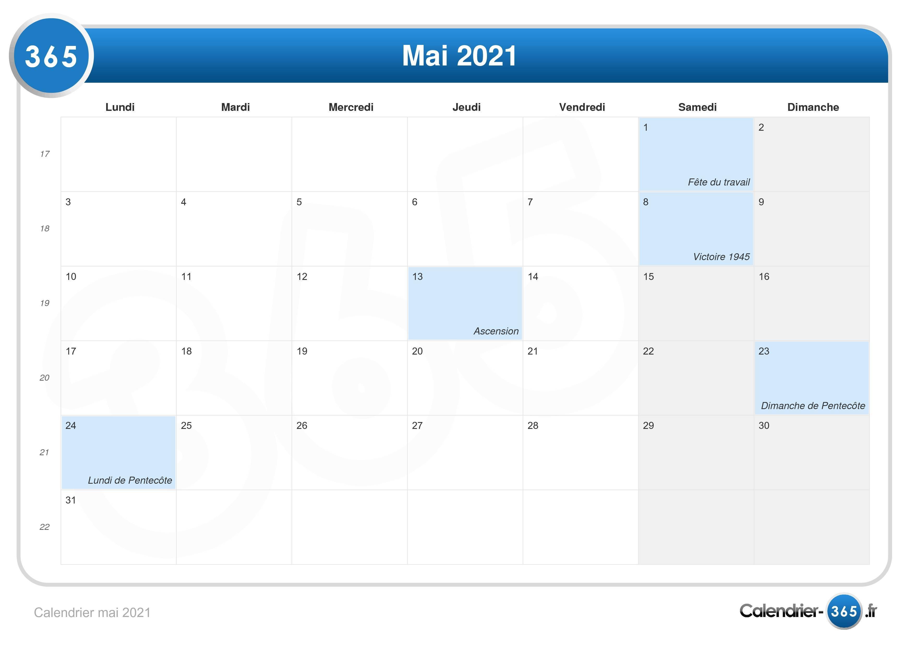 Calendrier mai 2021