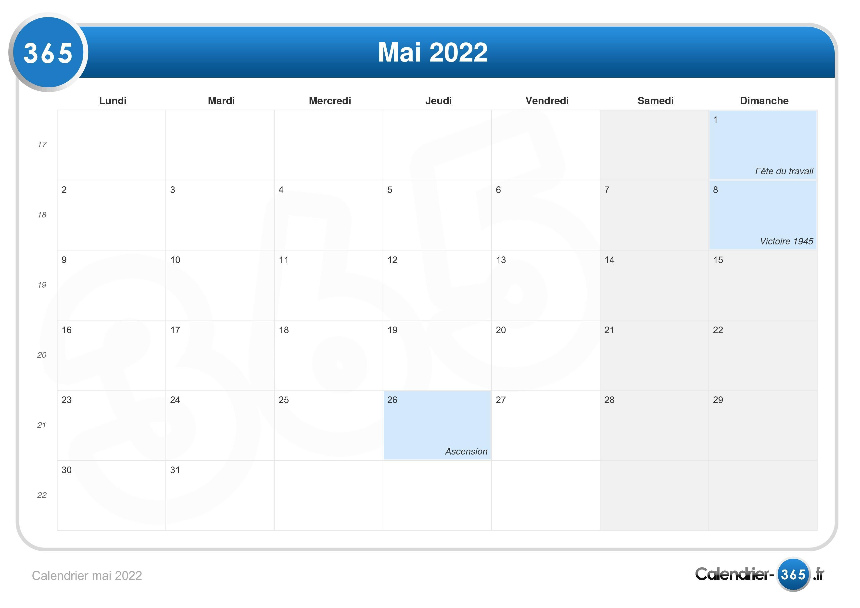 Mai Calendrier 2022 Calendrier mai 2022