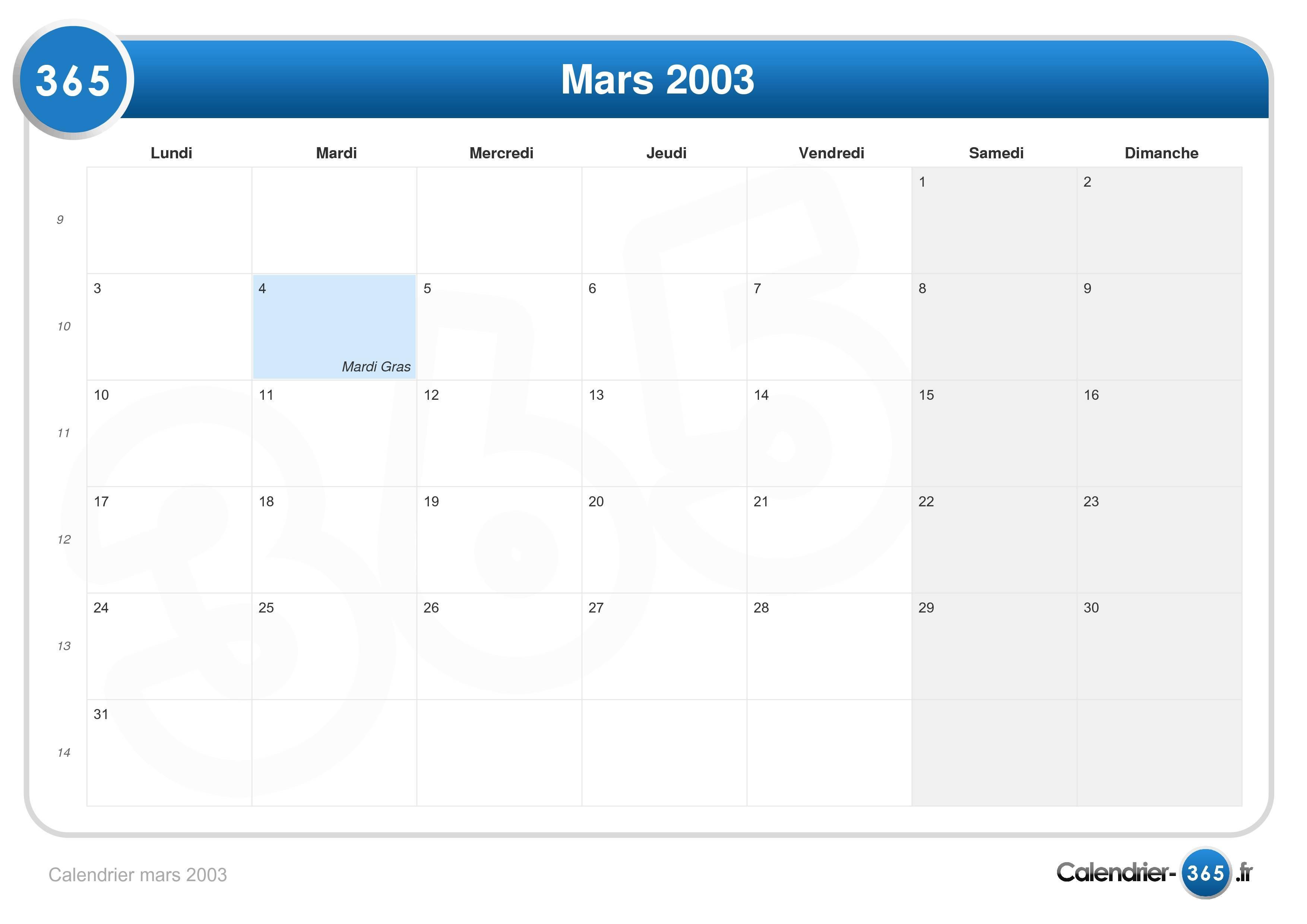 calendrier mars 2003
