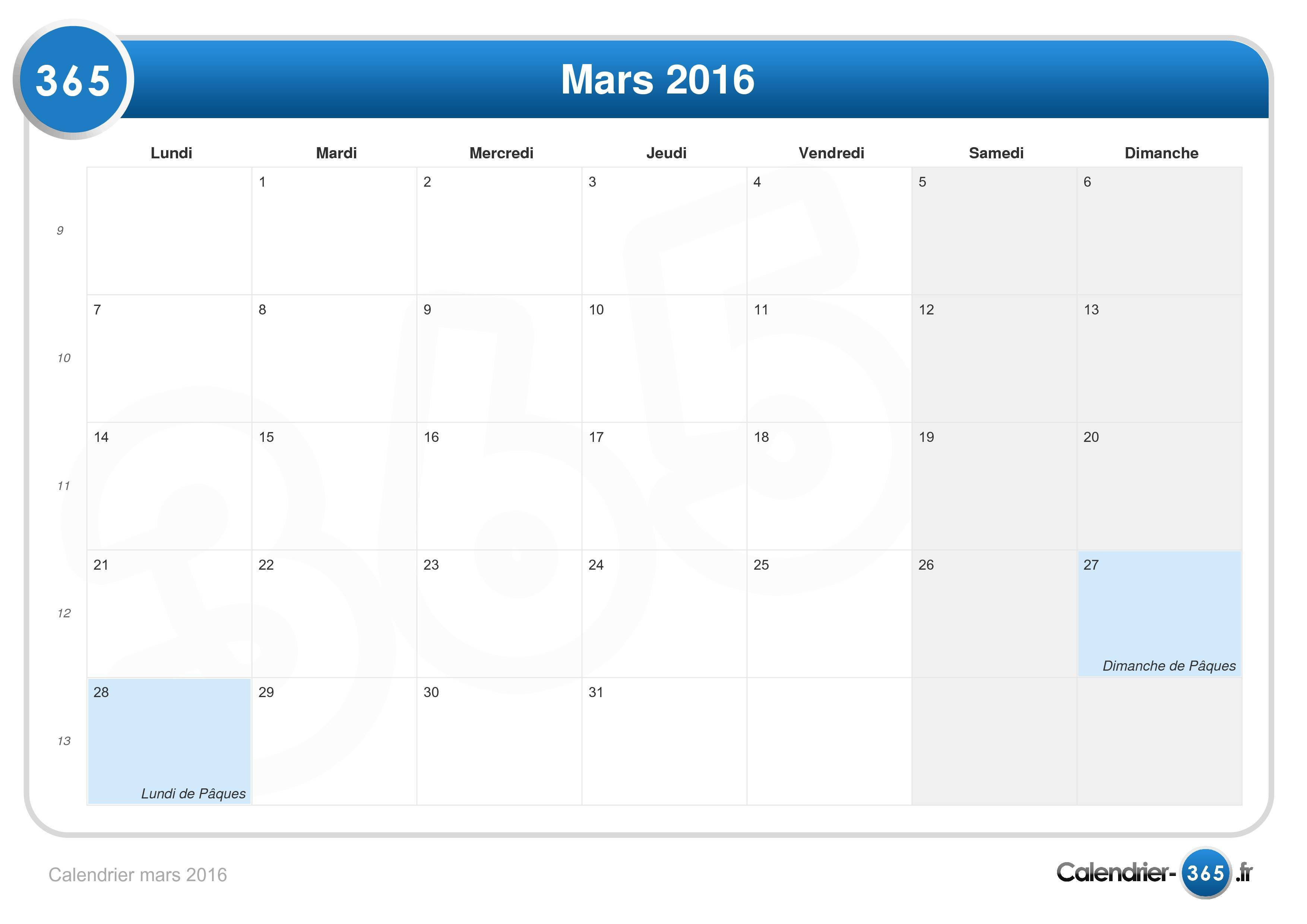 calendrier mars 2016. Black Bedroom Furniture Sets. Home Design Ideas