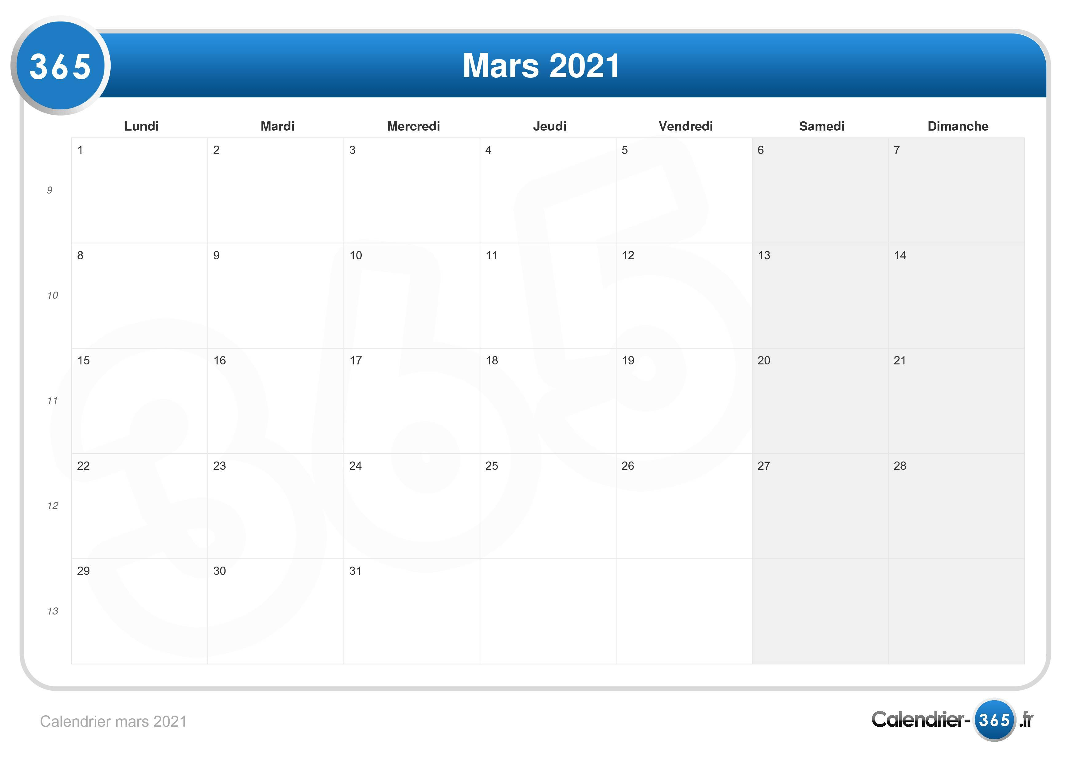 Mars 2021 Calendrier Calendrier mars 2021