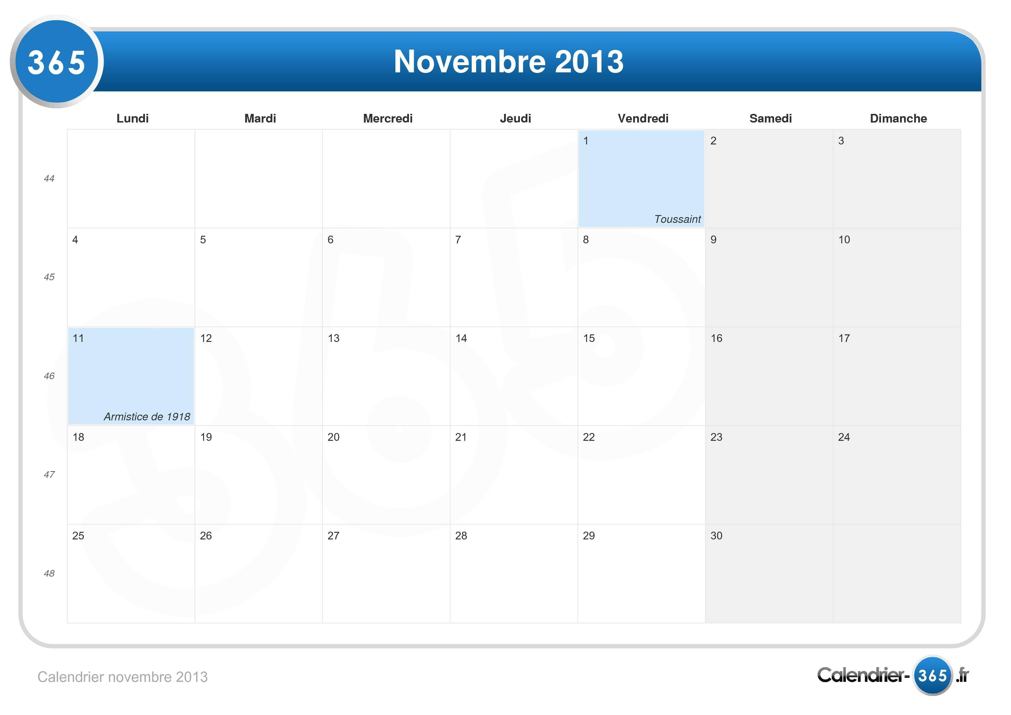 Calendrier novembre 2013