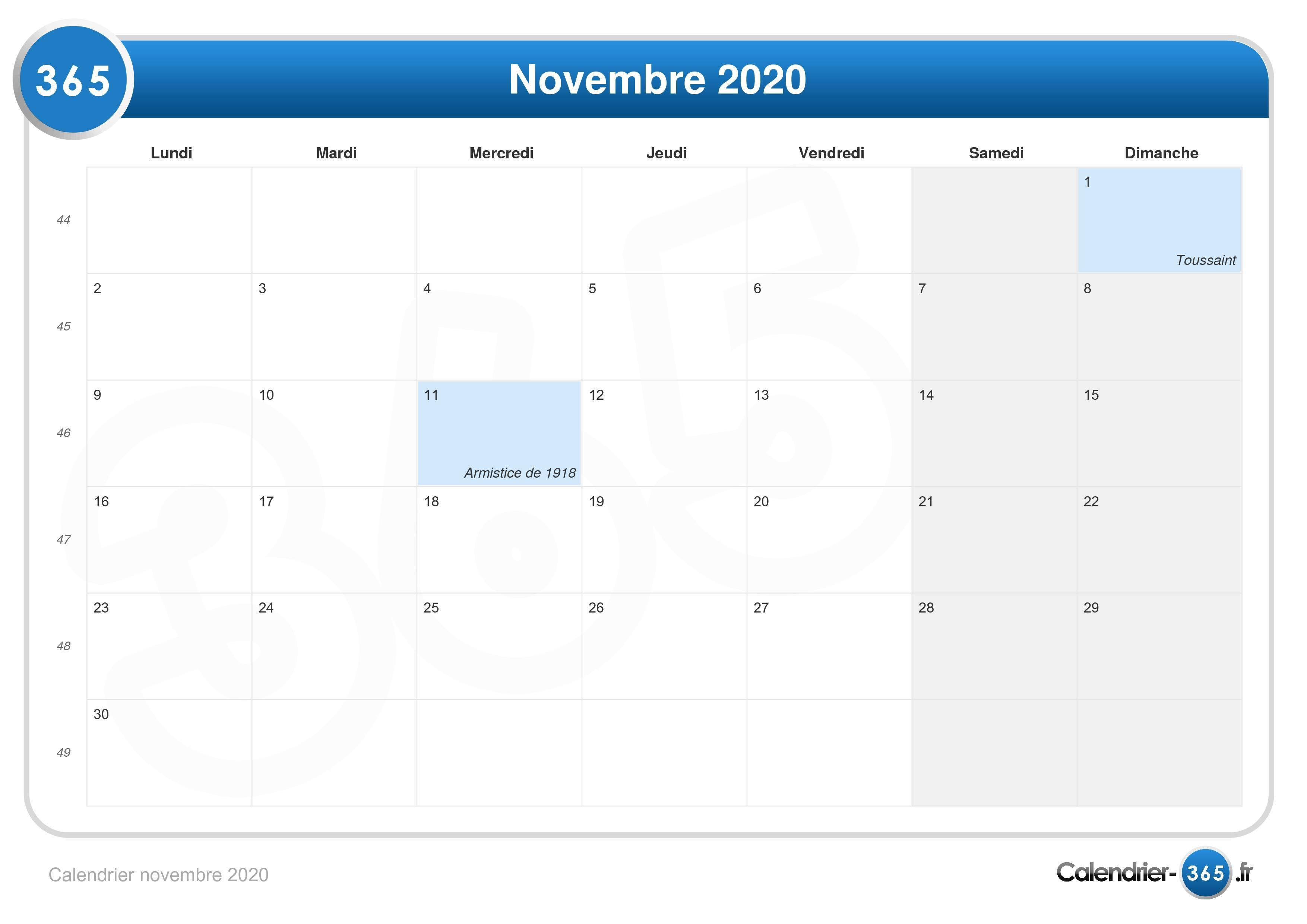 Calendrier Novembre 2020.Calendrier Novembre 2020