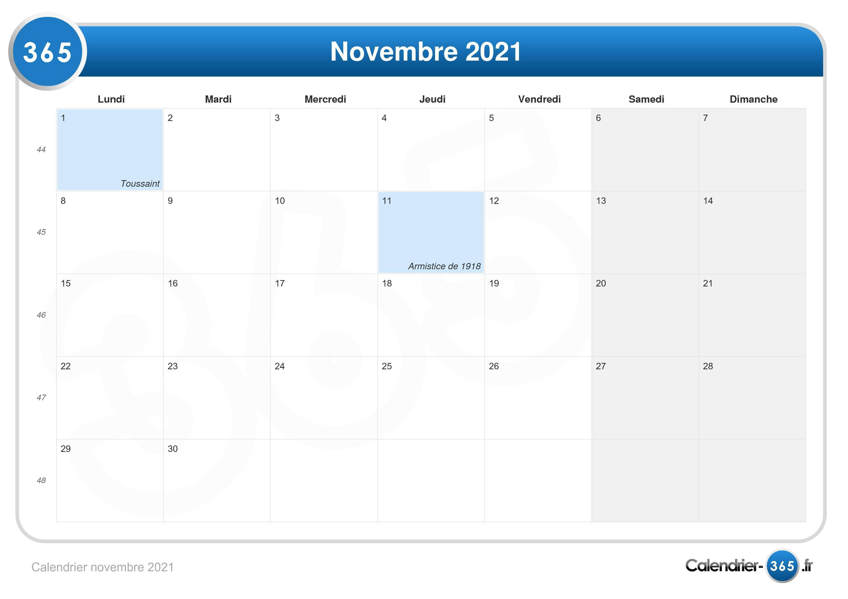Calendrier novembre 2021