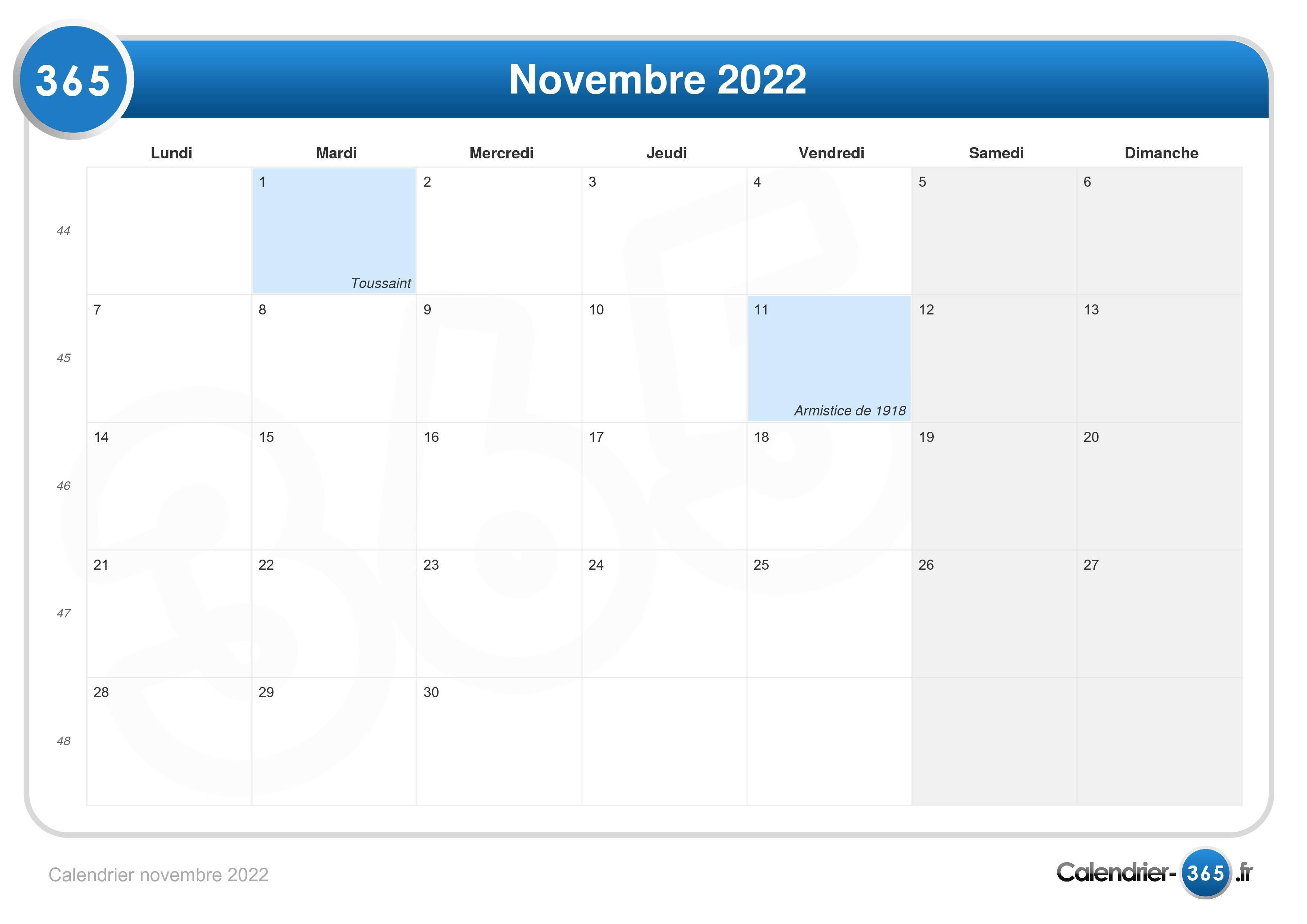 Calendrier 2022 Novembre Calendrier novembre 2022