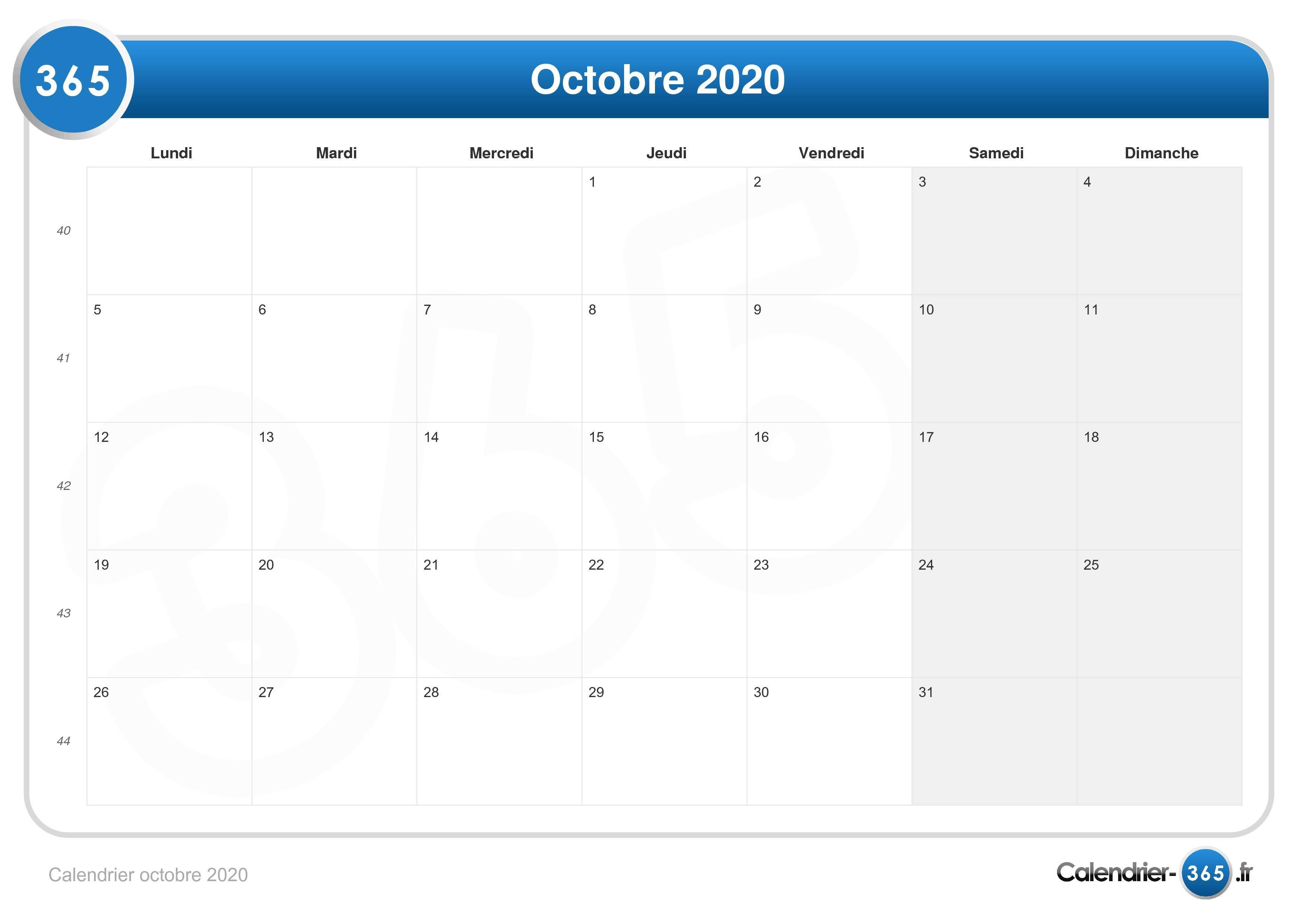 Calendrier Octobre 2020.Calendrier Octobre 2020