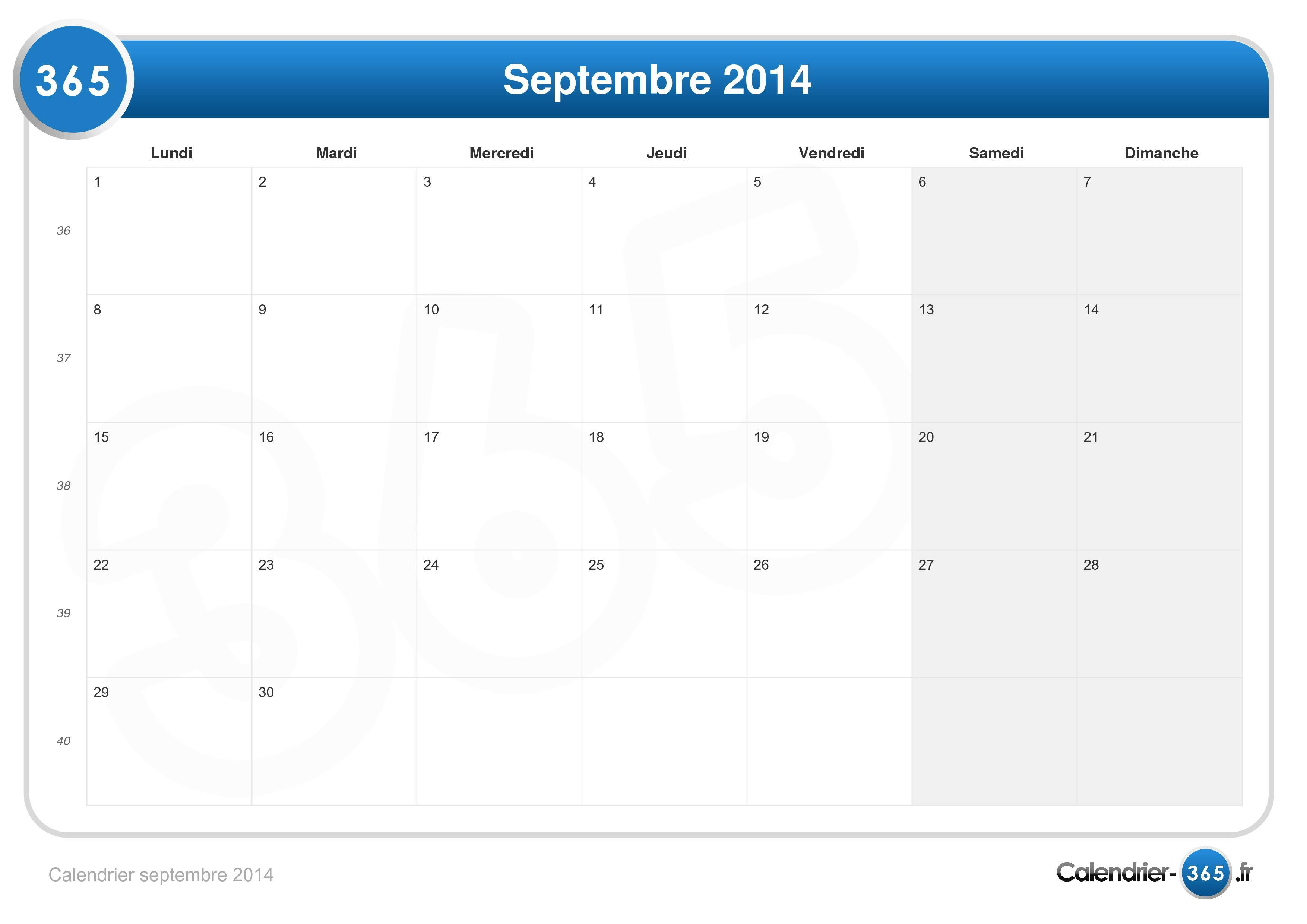Calendrier septembre 2014