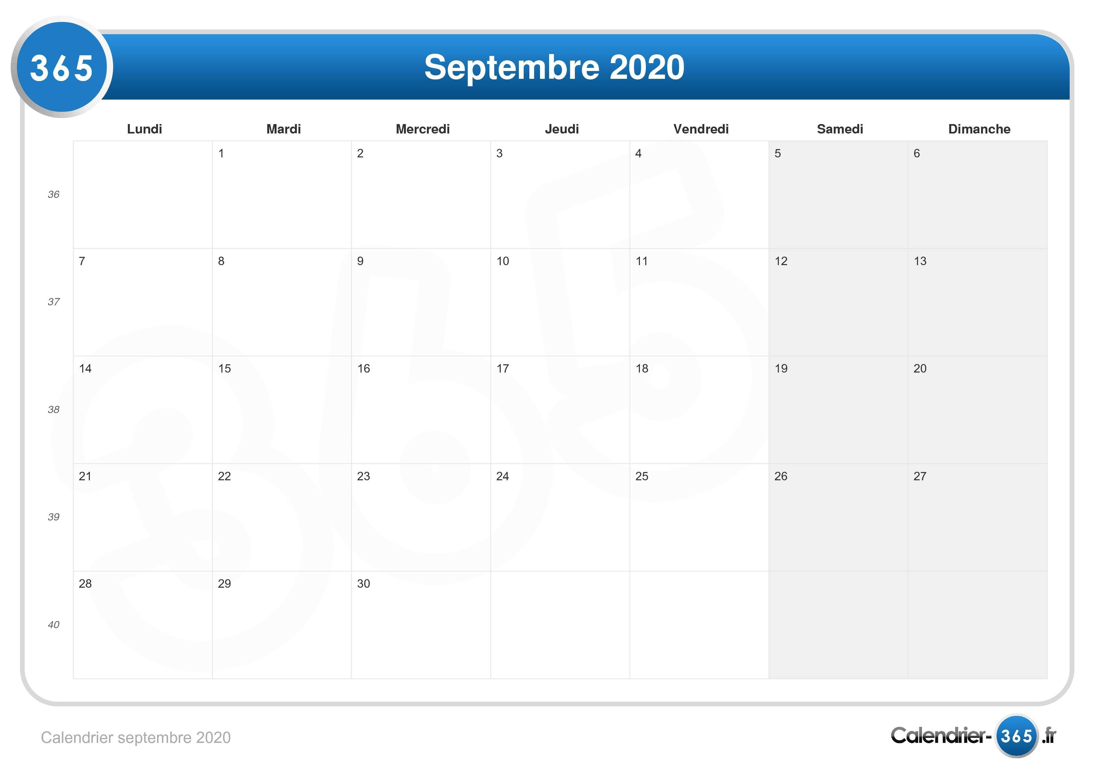 Calendrier De Septembre 2020.Calendrier Septembre 2020